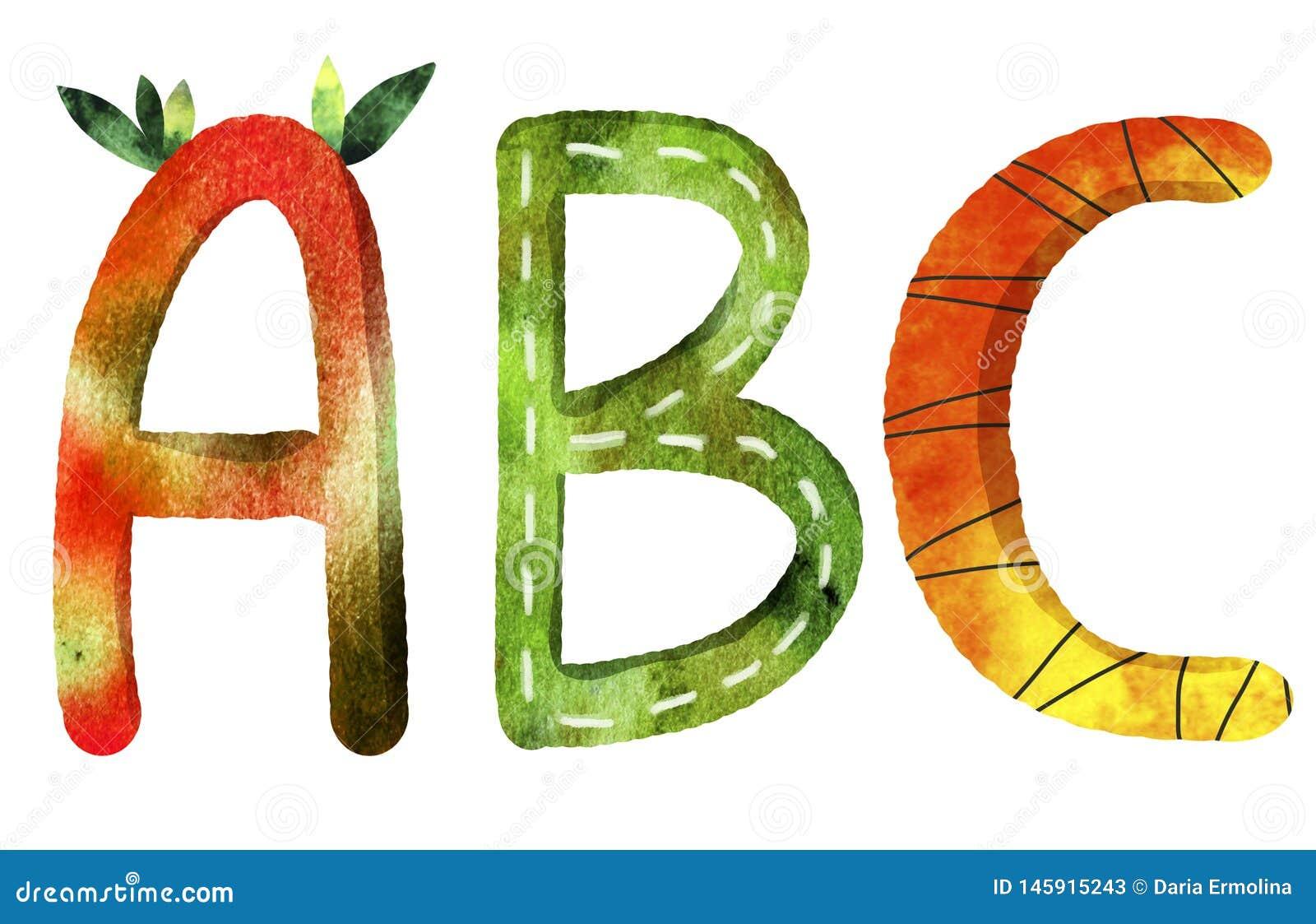 Bokstäverna av det engelska alfabetet för abc