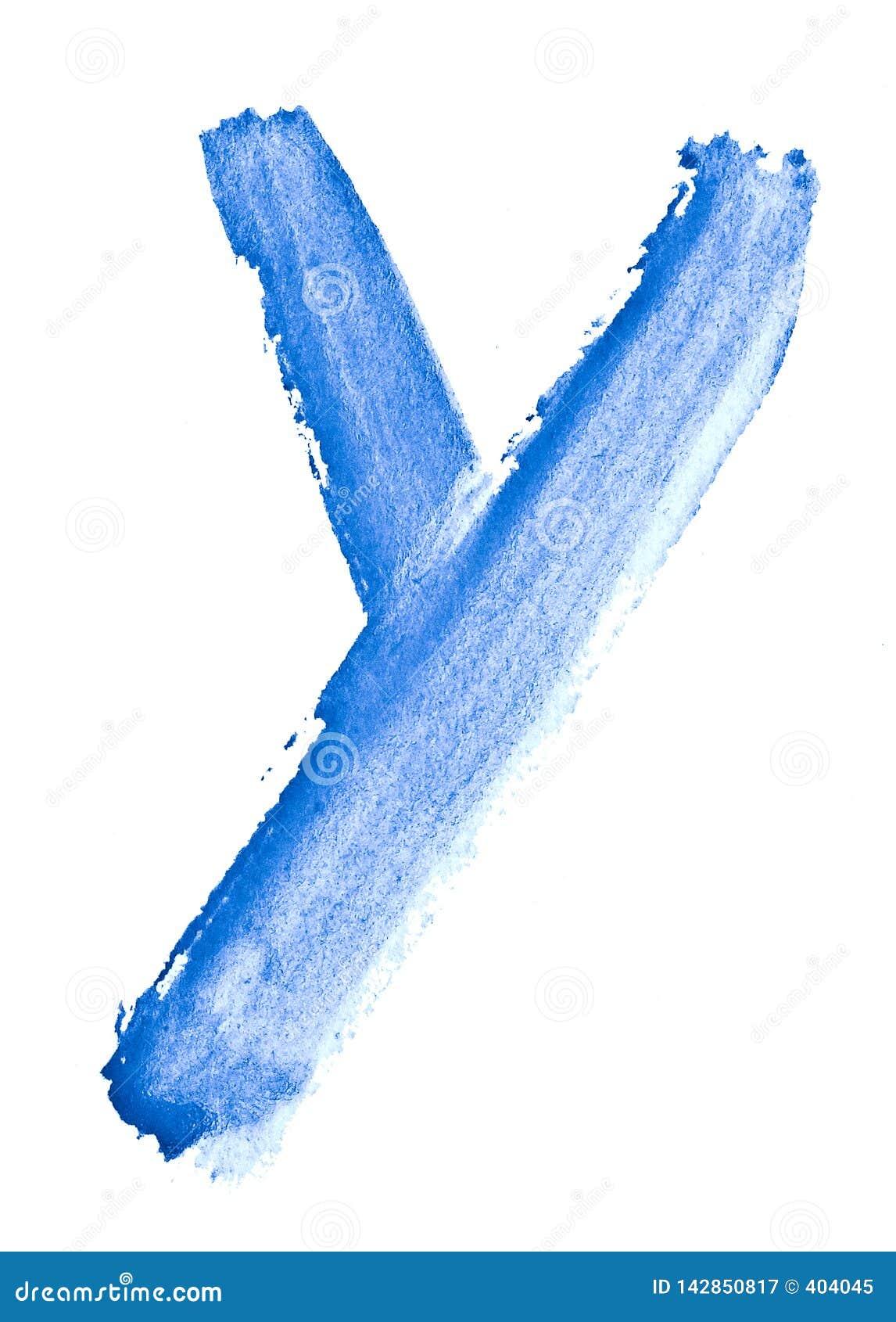 Bokstav Y - vattenf?rg som m?las av handen med hj?lpen av en grov borste Tappningm?lningar f?r design och garnering