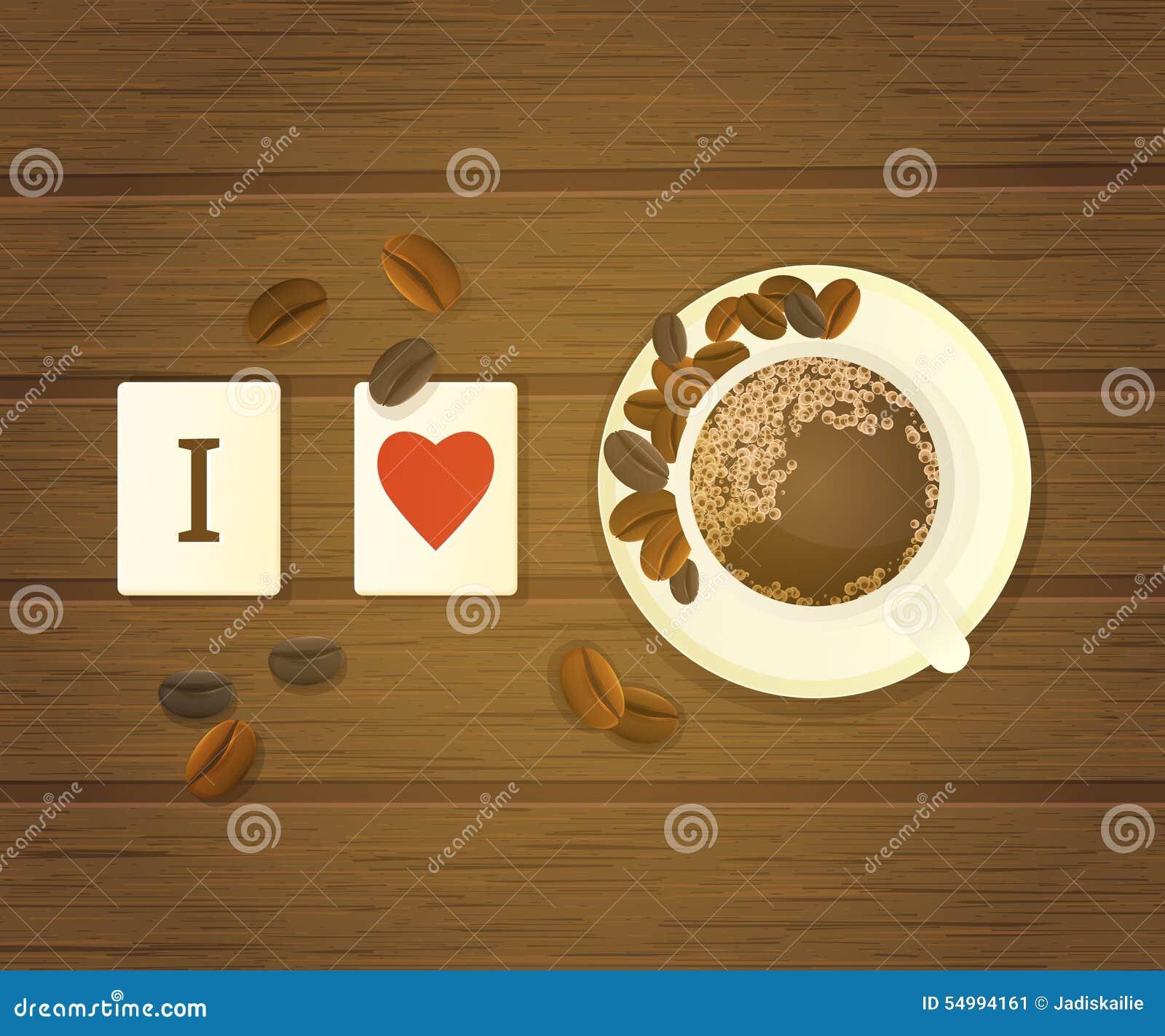 Bokstaven belägger med tegel stavning som jag älskar kaffe