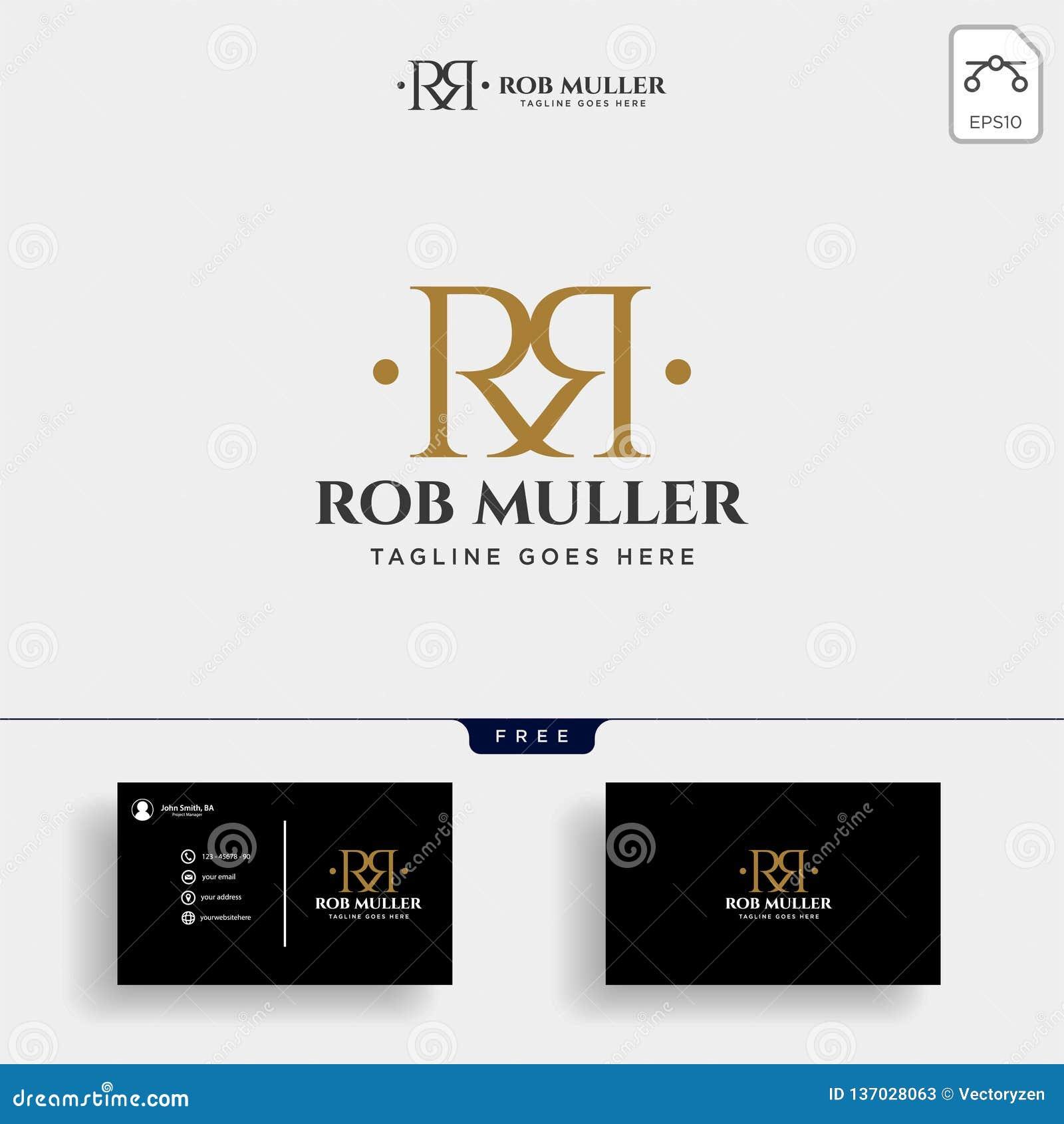 BokstavsRM, R, för logomall för M guld- idérik illustration för vektor