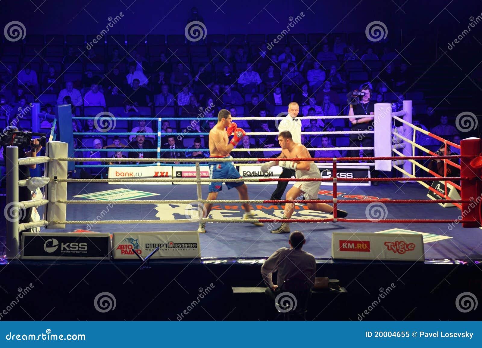 Bokswedstrijd I.Ismailov versus F.Khrgovich