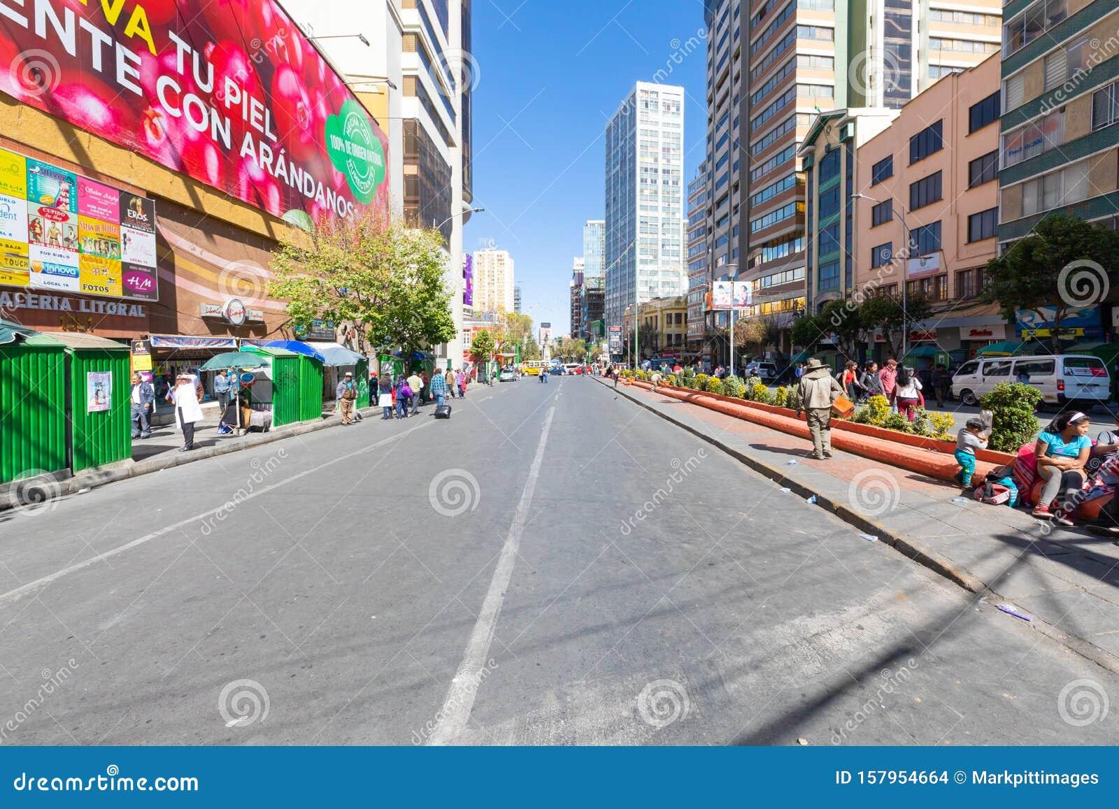 Bolívia La Paz Mariscal Santa Cruz Avenue Imagem De Stock Editorial Imagem De Elevado Tourism 157954664
