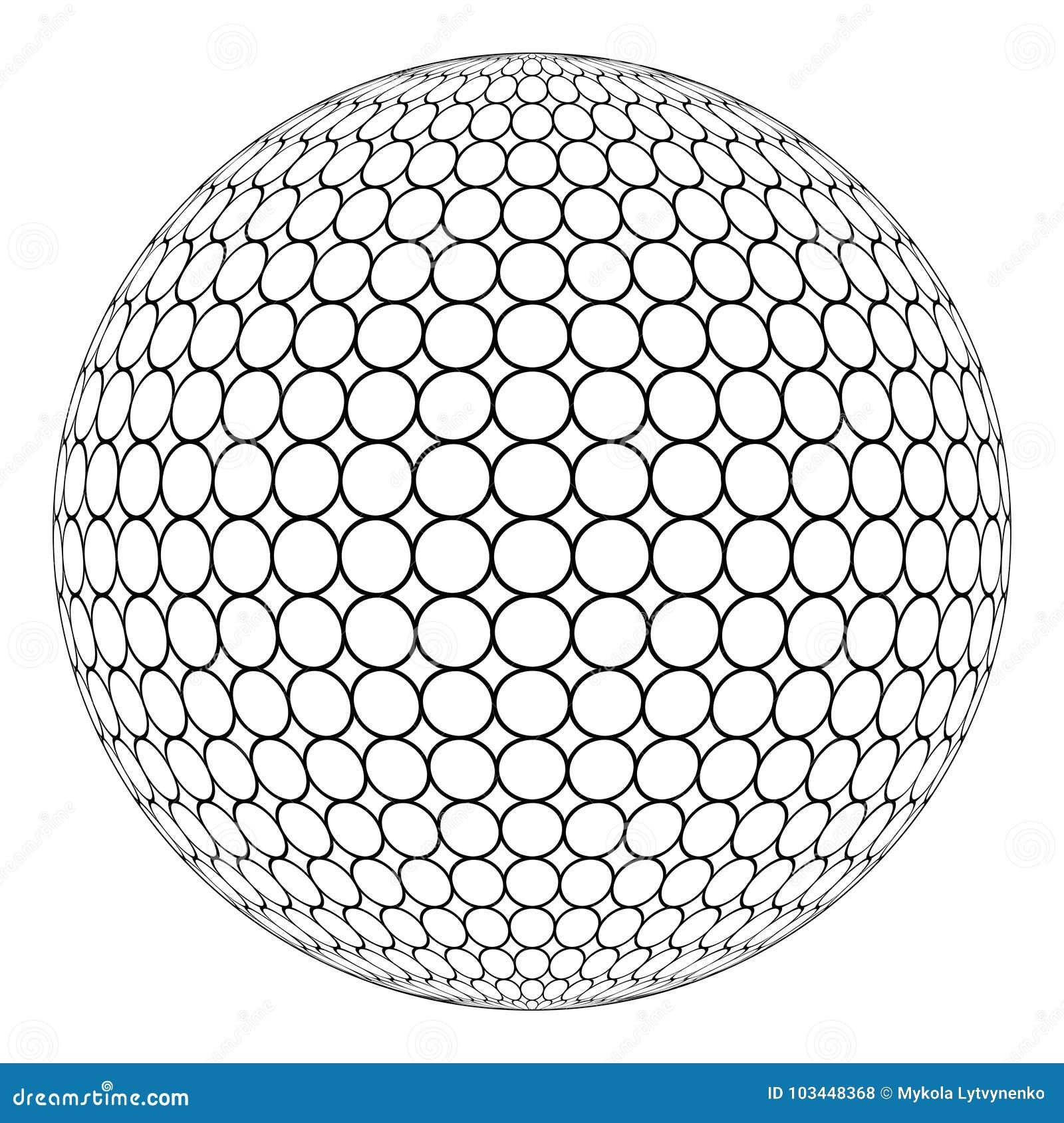 Bol 3D gebied met ringsnetwerk op de oppervlakte, vector van de ronde structuur van het gebied