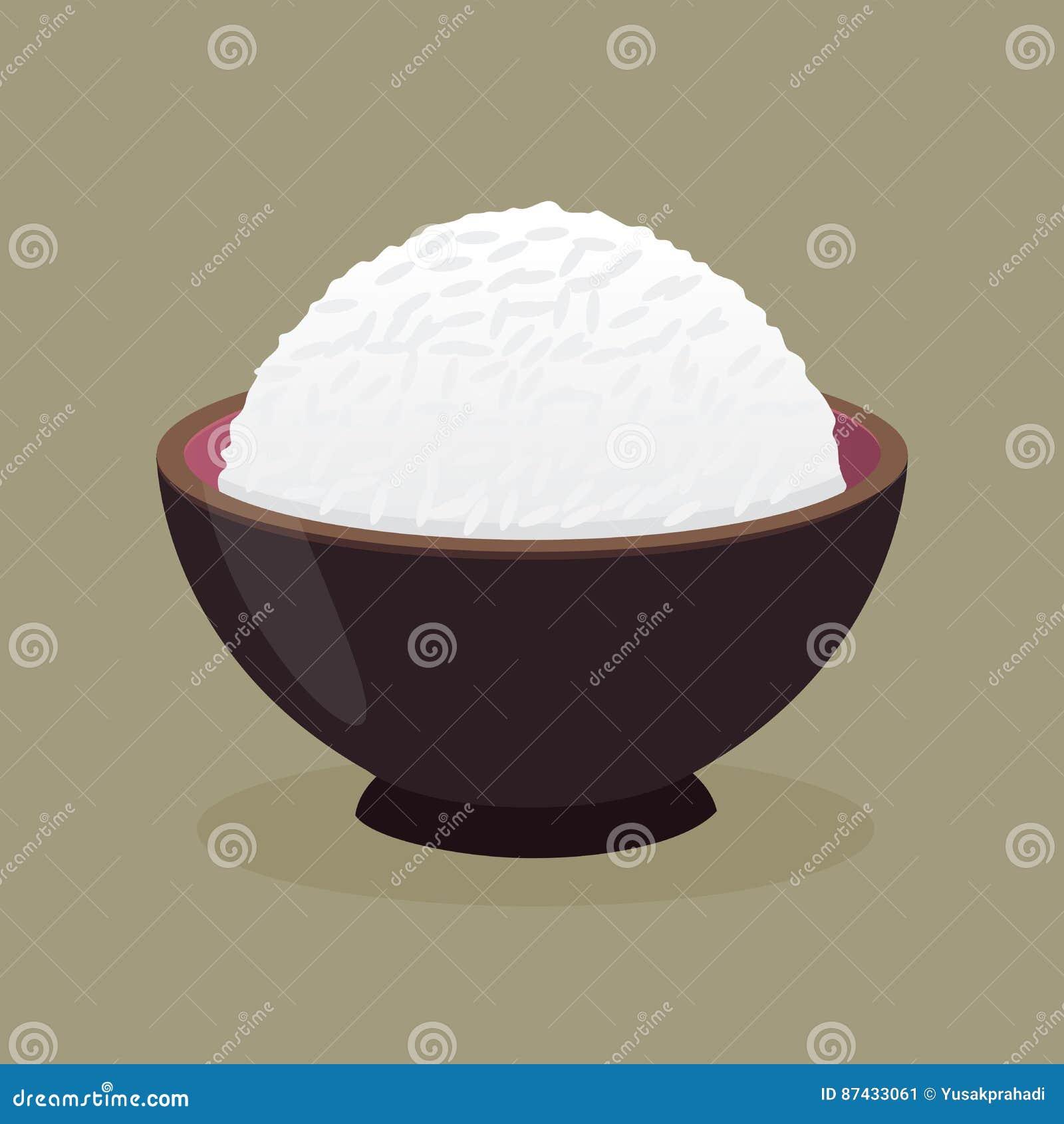 bol de riz cuit la vapeur cuit illustration de vecteur illustration du d ner japonais 87433061. Black Bedroom Furniture Sets. Home Design Ideas