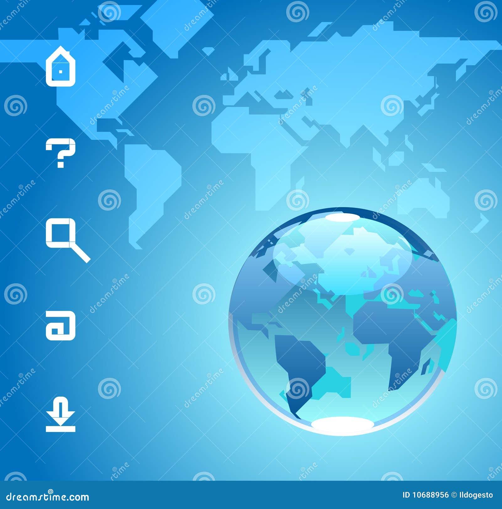 Bol en pictogrammen op blauwe achtergrond van de kaart van de wereld vector illustratie - Scherm thuis van de wereld ...