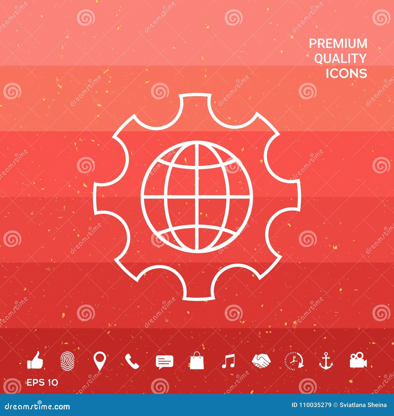 Bol van de Aarde binnen een toestel of een radertje, plaatsende parameters, Globale Opties - lijnpictogram