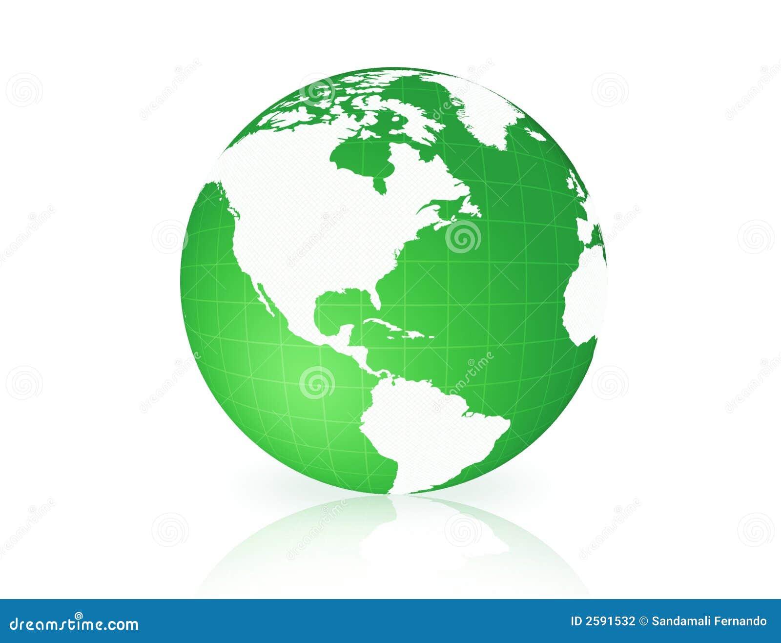 Bol van de aarde isoleerde groen