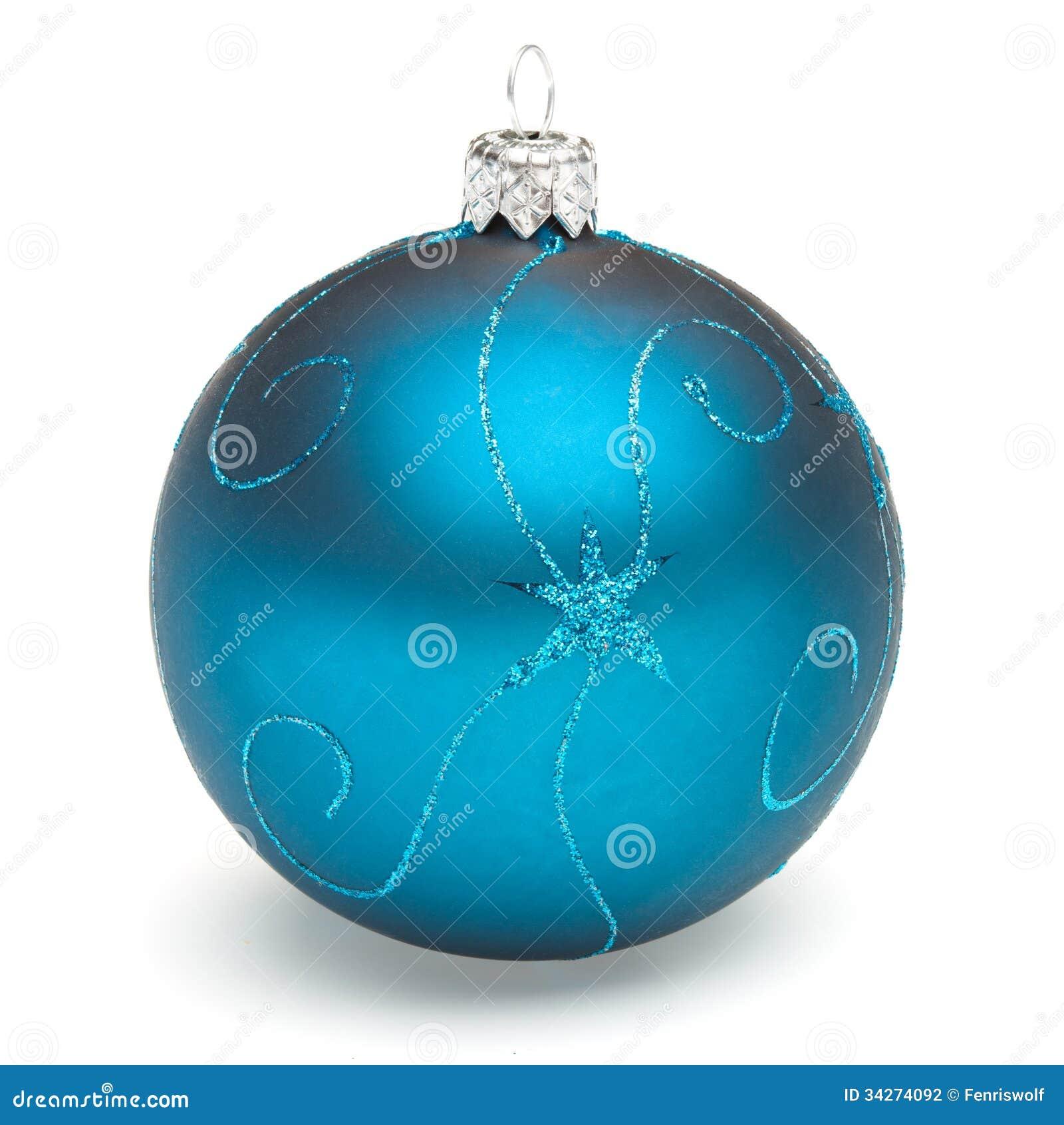 decoracao arvore de natal azul:Bola azul da decoração da árvore de Natal isolada no backrground