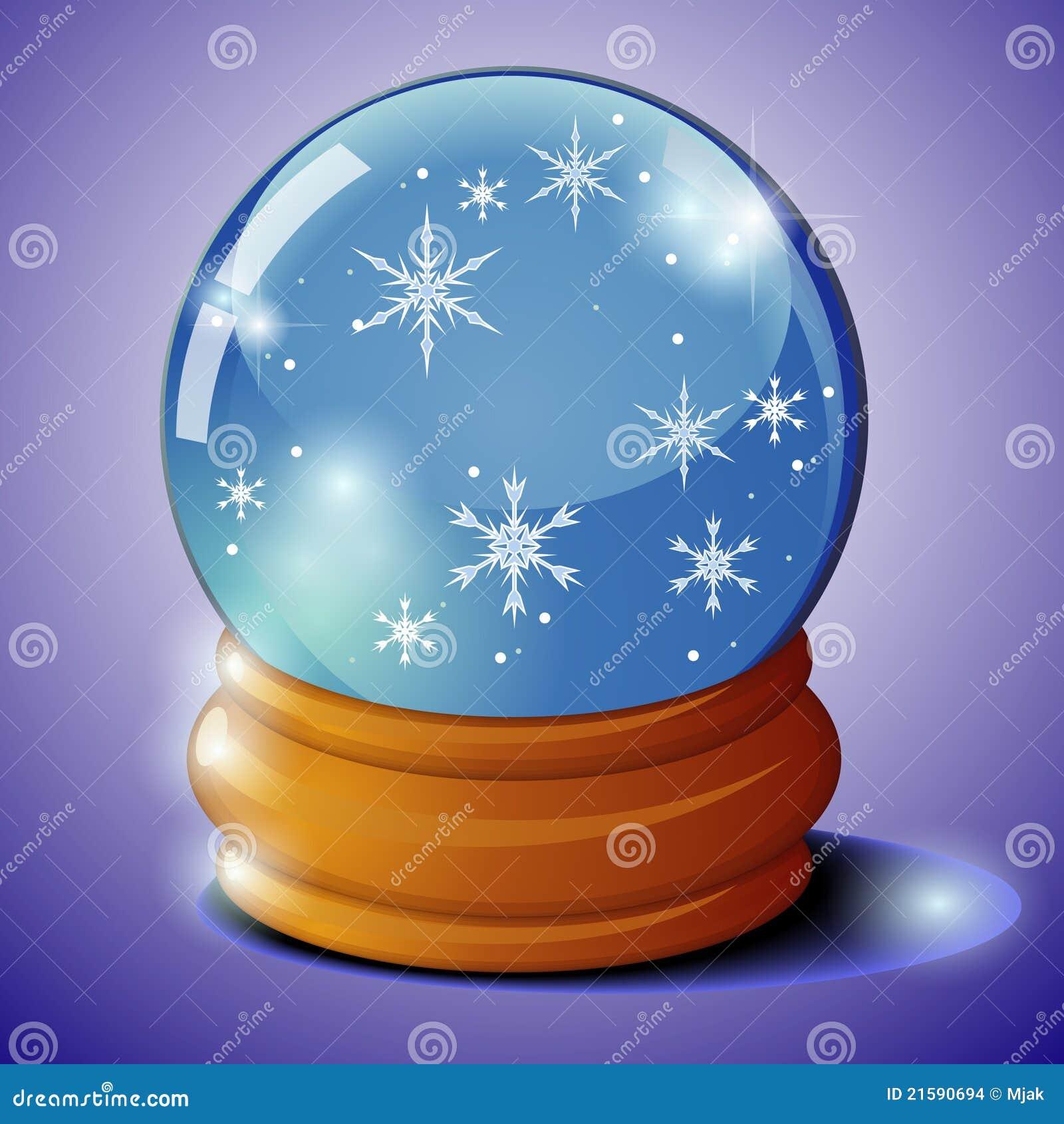 Bola de cristal con los copos de nieve imagenes de archivo - Bola nieve cristal ...