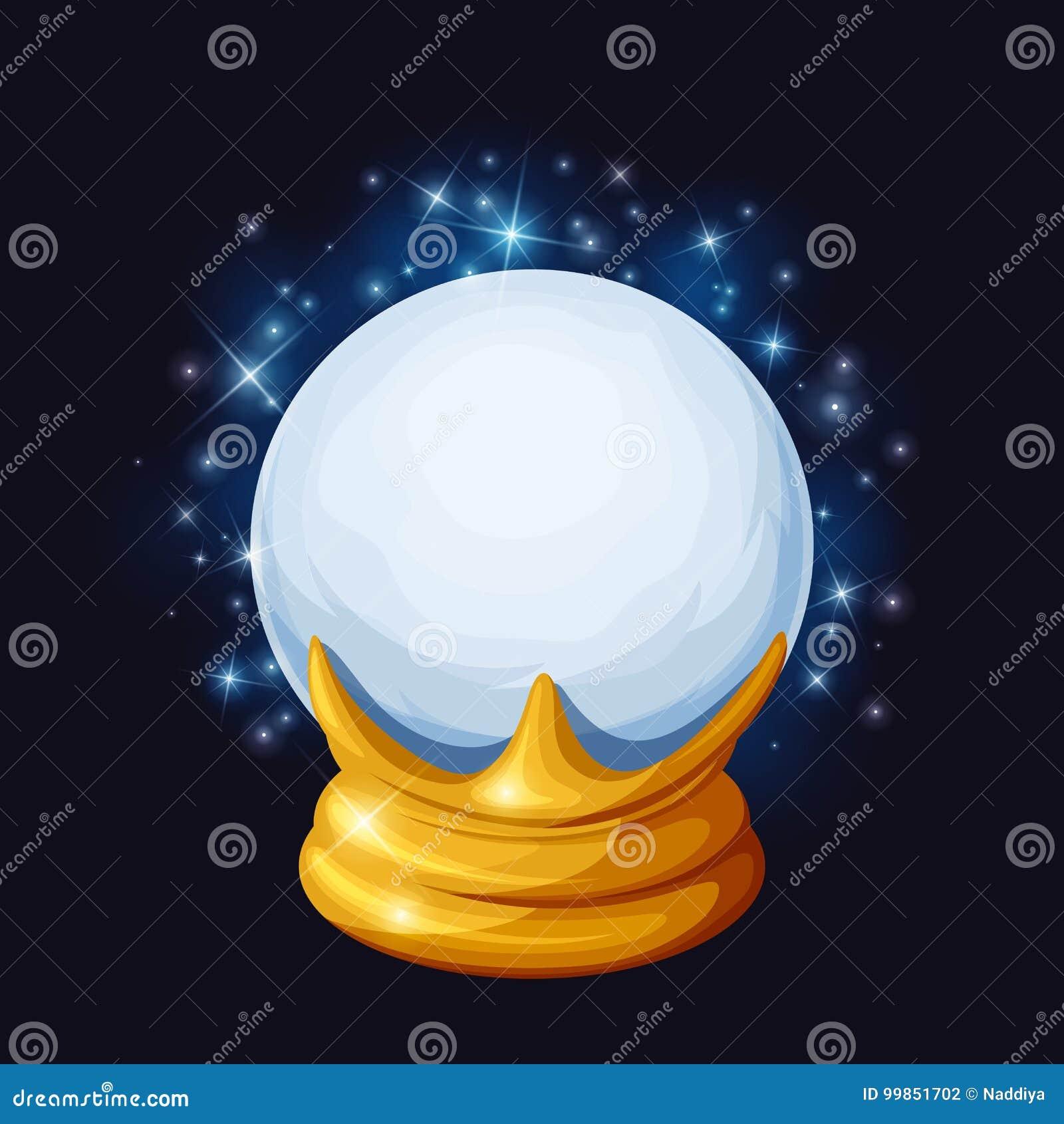 Bola de cristal mágica con las chispas Ilustración del vector