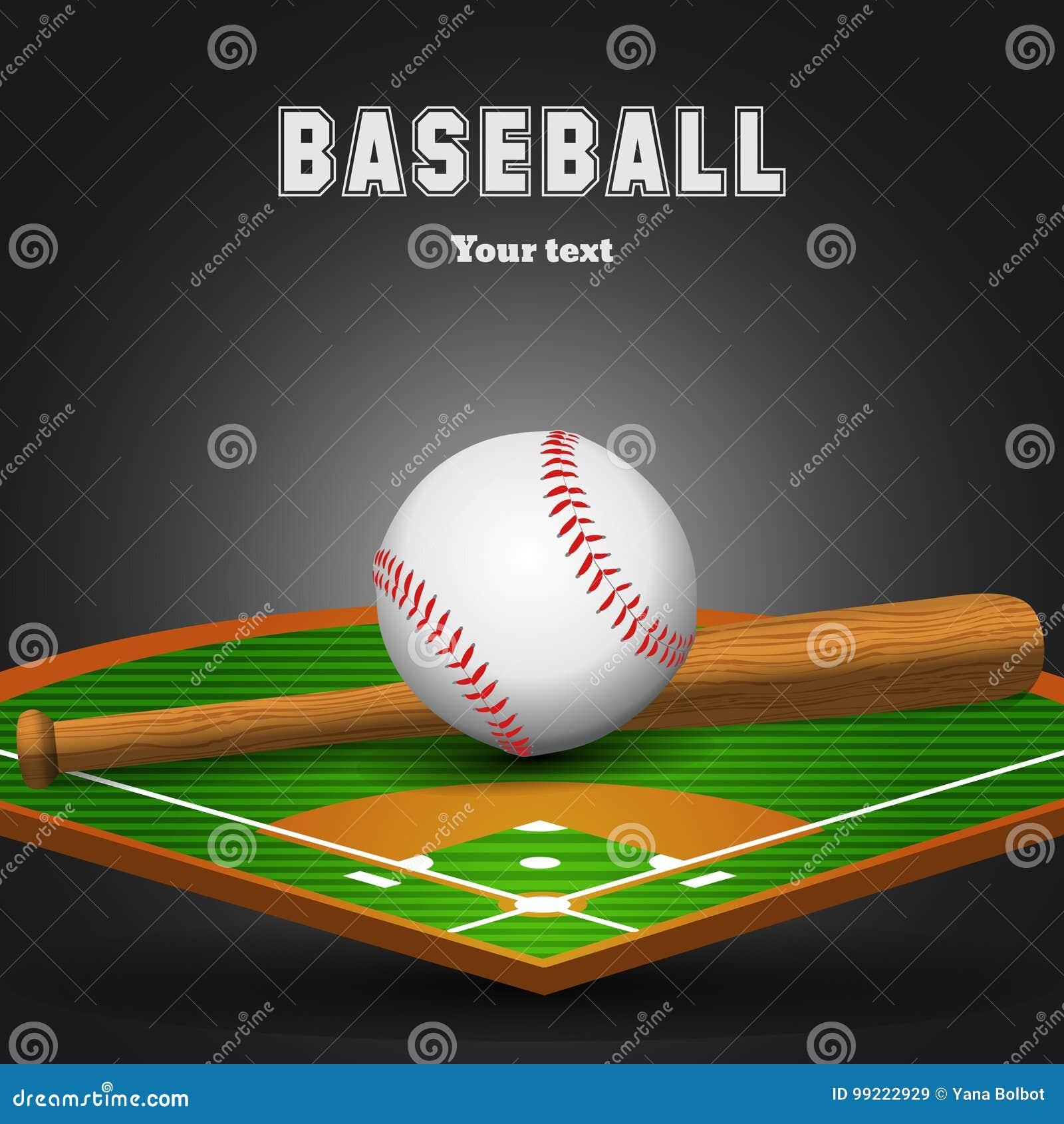 Bola De Cuero Del Béisbol Y Palo De Madera En Campo Ilustración del ... 53f76549039cc