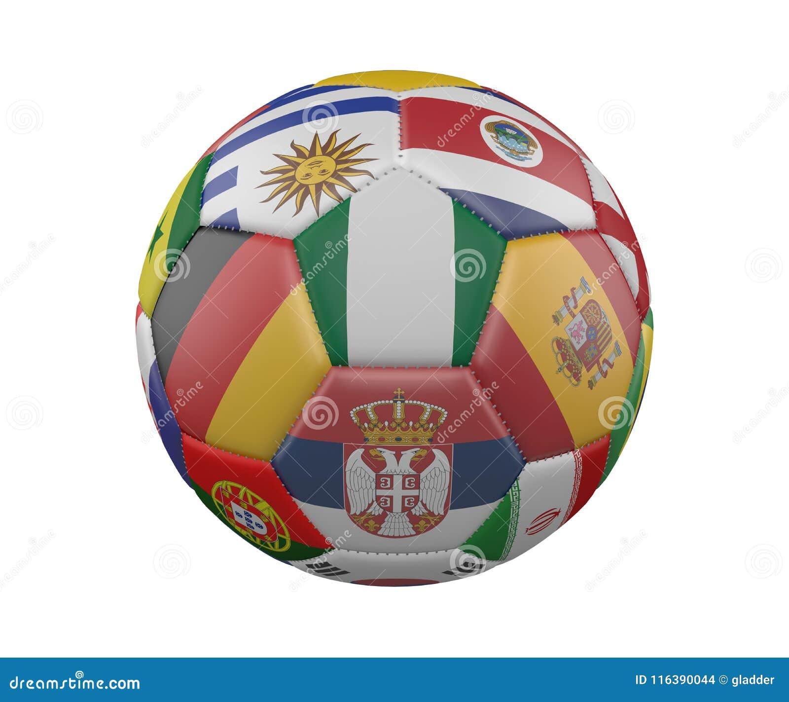 Bola de futebol com as bandeiras isoladas no fundo branco, Nigéria no centro, rendição 3d