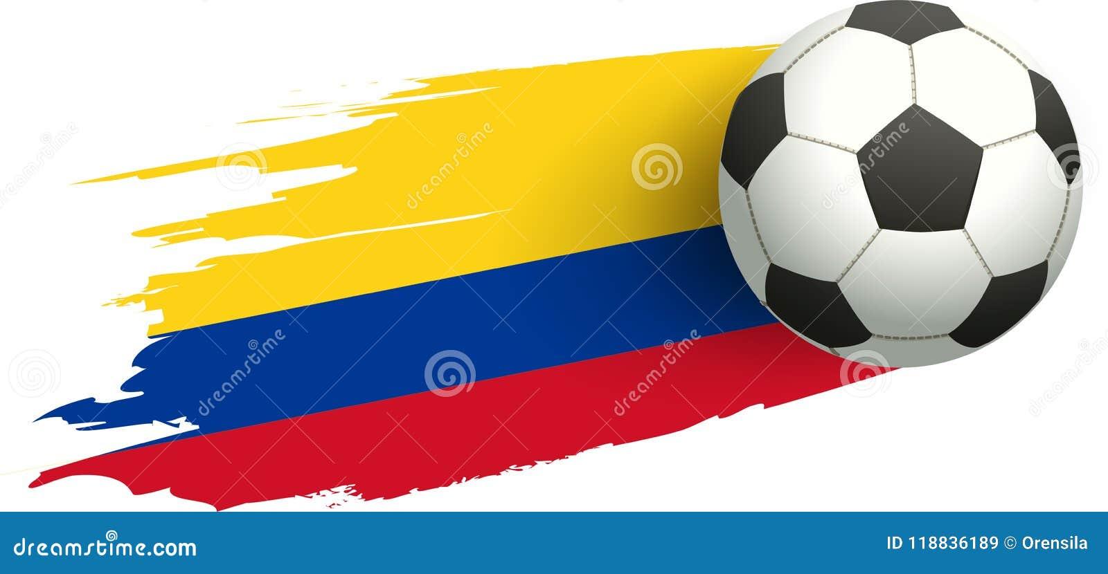 Bola de futebol e bandeira de Colômbia Objetivo do pontapé da vitória