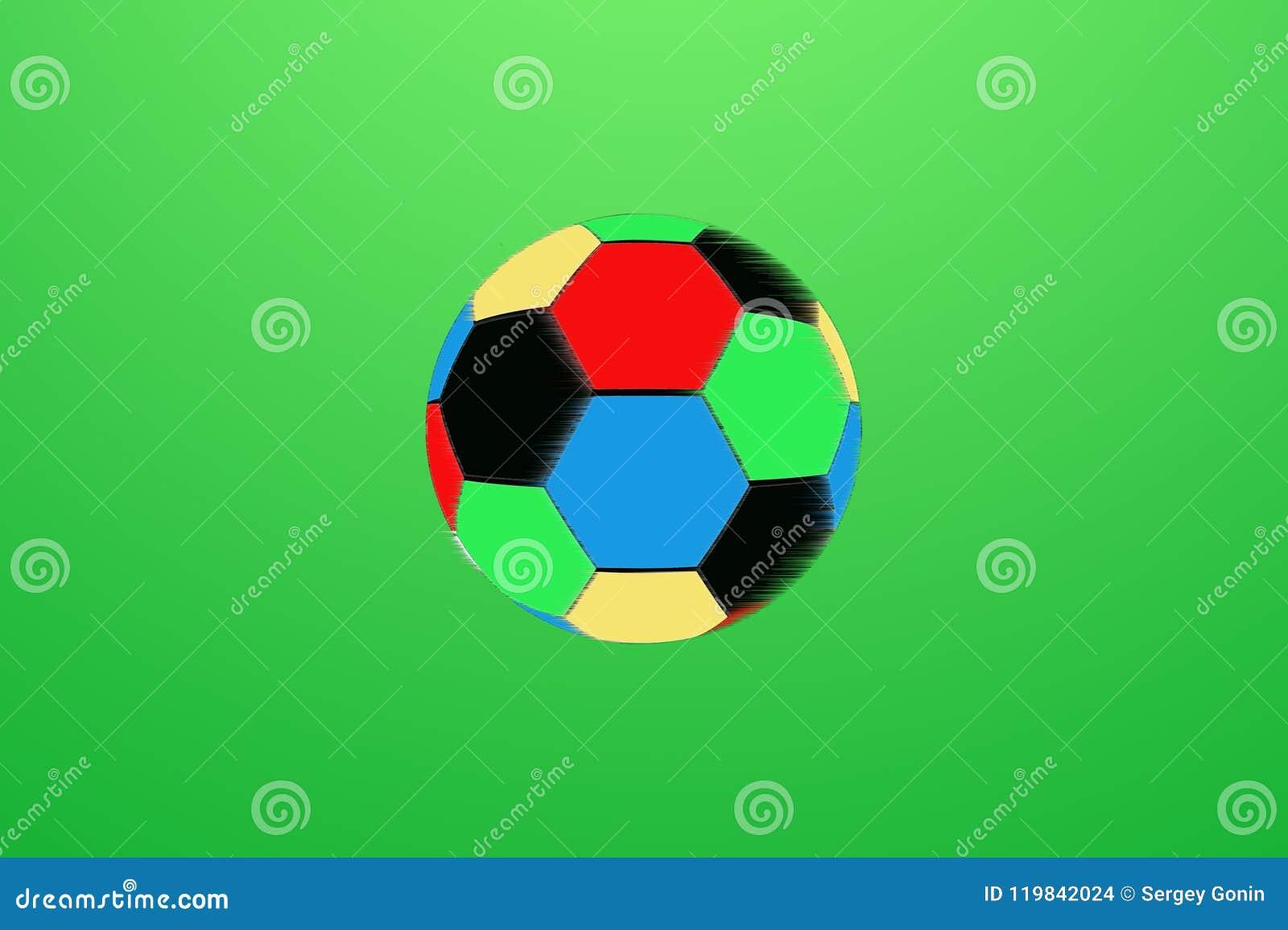 Bola de futebol na cor no fundo verde
