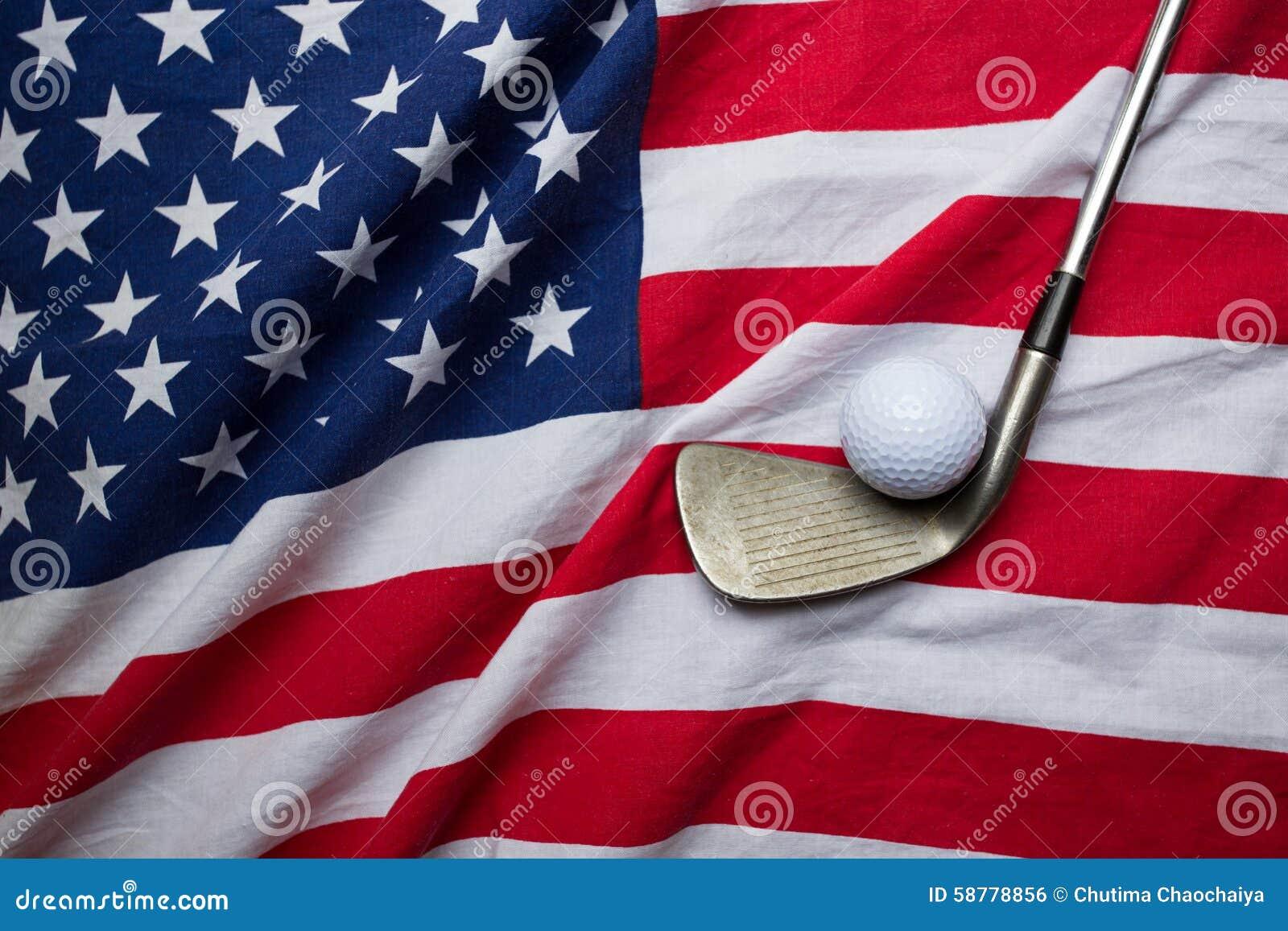 Bola de golfe com bandeira dos EUA