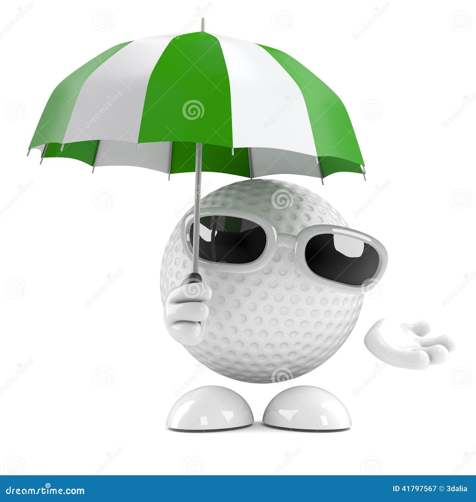 Bola De Golfe 3d Sob O Guarda-chuva Ilustração Stock - Ilustração de ... 902d4eab4a6