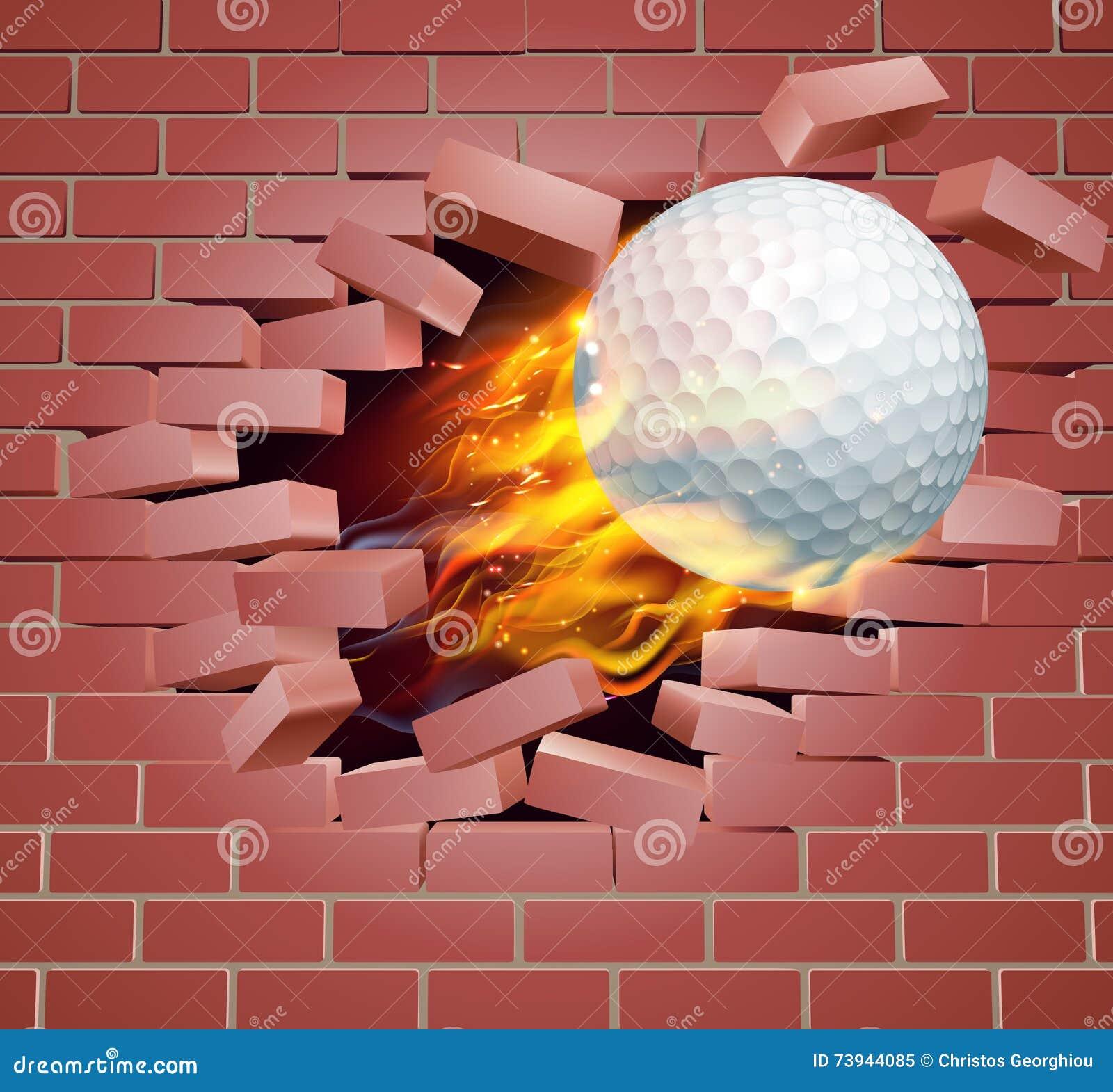 Bola de golfe flamejante que quebra através da parede de tijolo