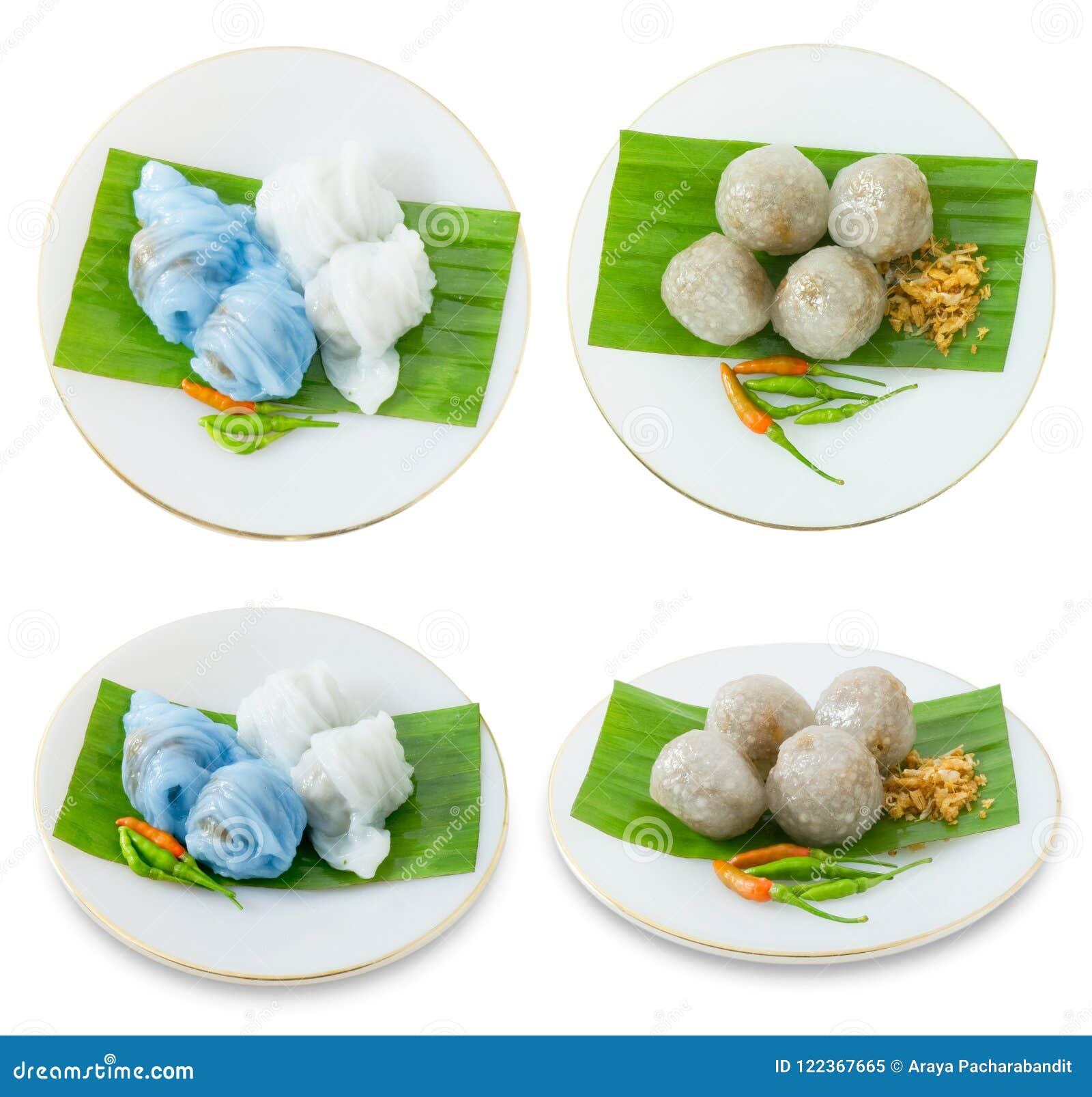 Bola de masa hervida cocida al vapor tailandesa de la piel del arroz con las bolas de la tapioca