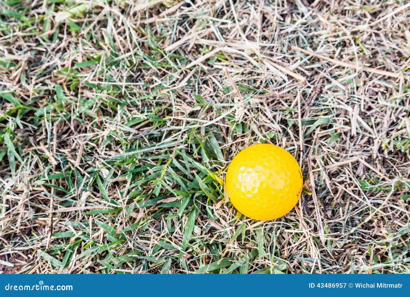 Bola de mini golfe amarela no áspero