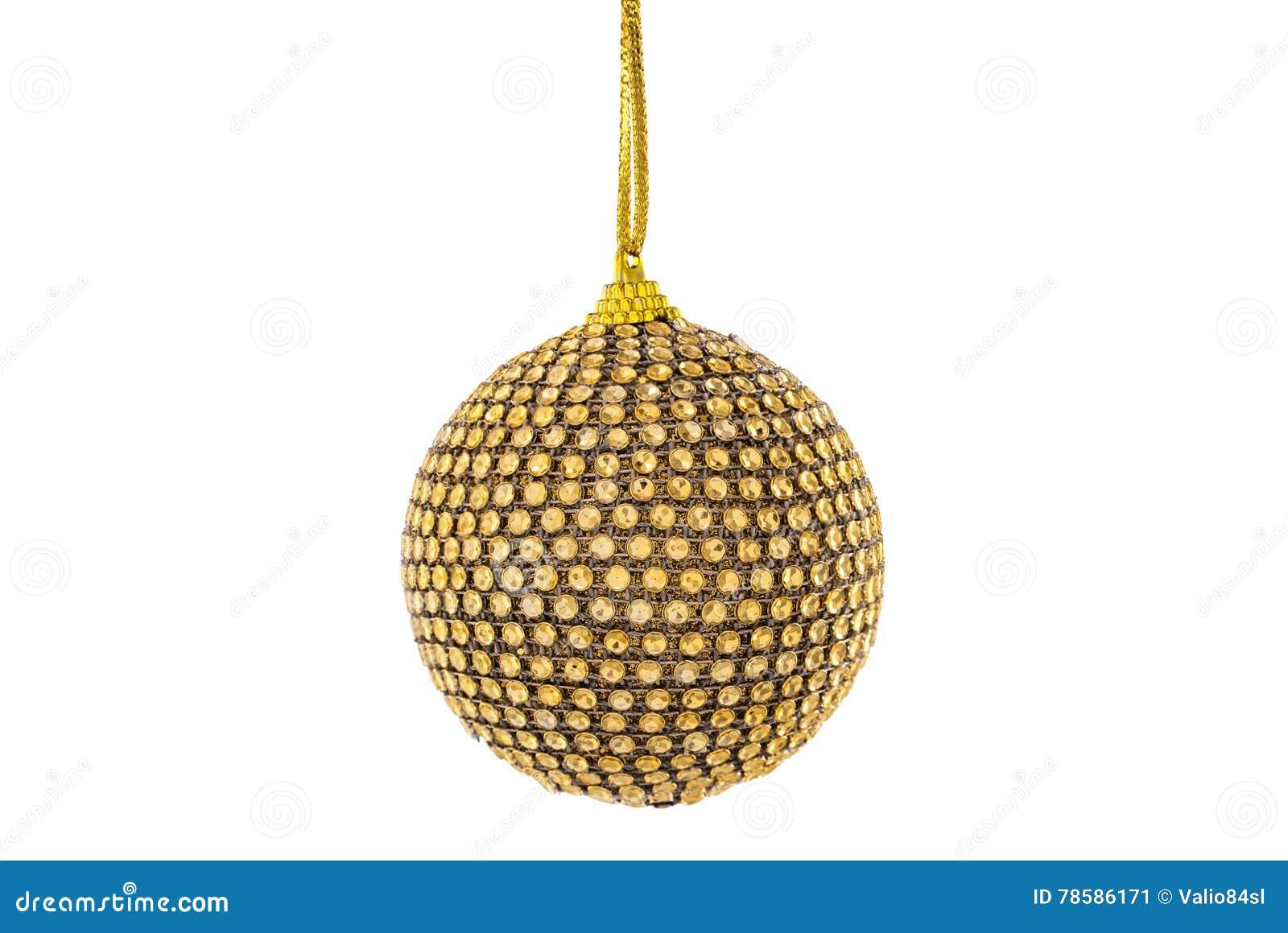 Bola de oro de la Navidad, aislada en blanco