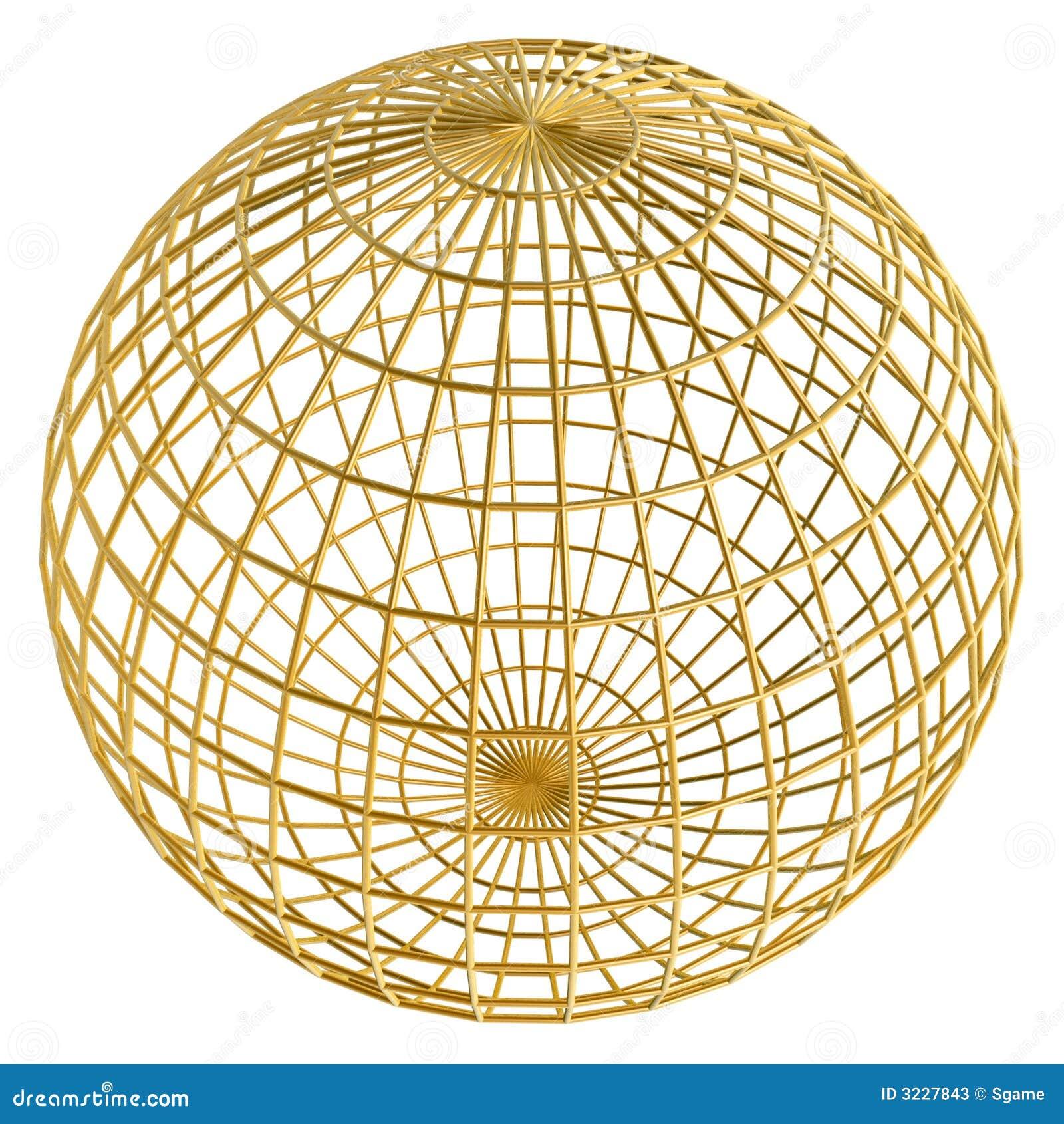Bola de oro del marco del globo