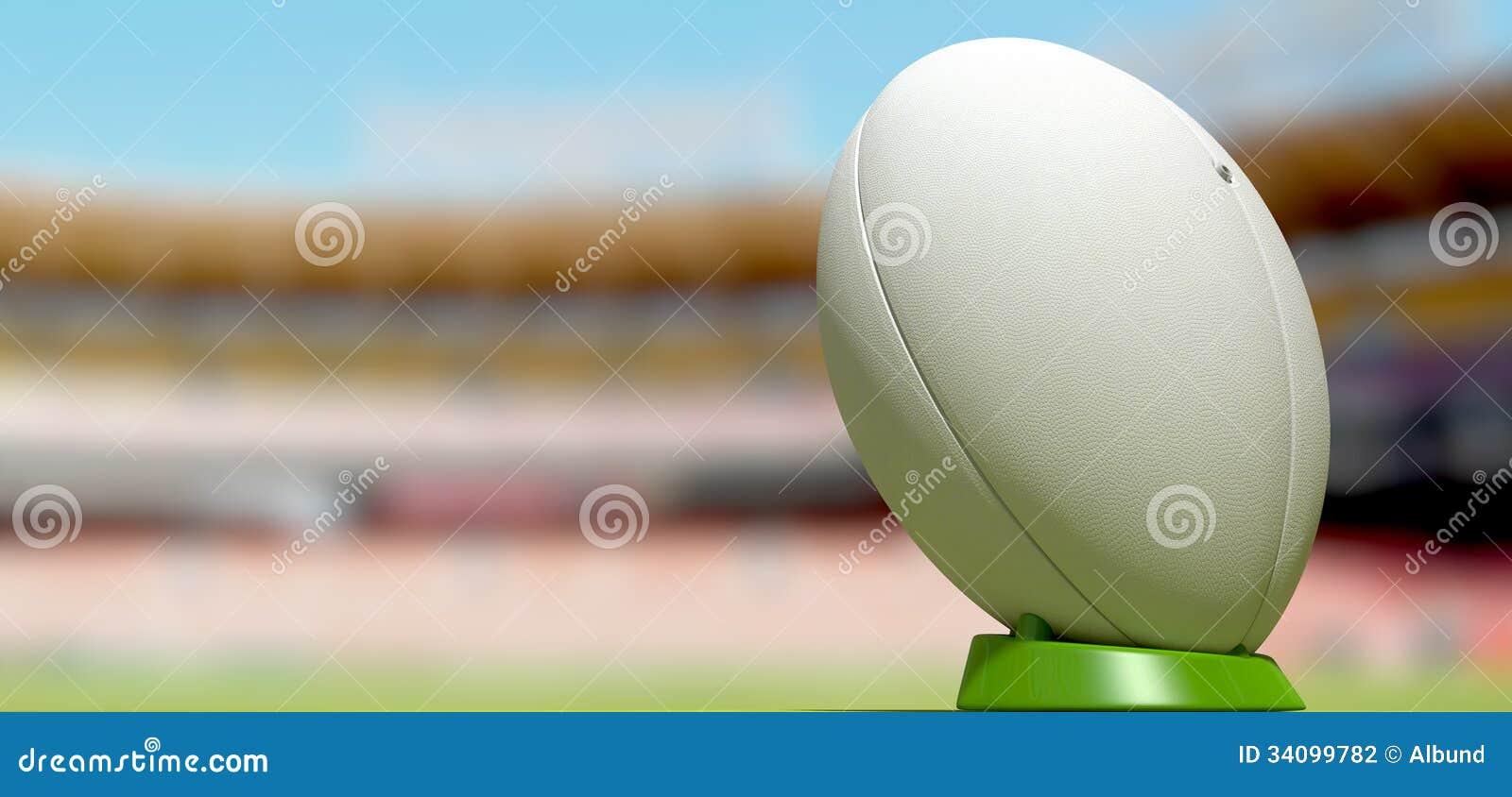 Bola de rugby em um dia do estádio