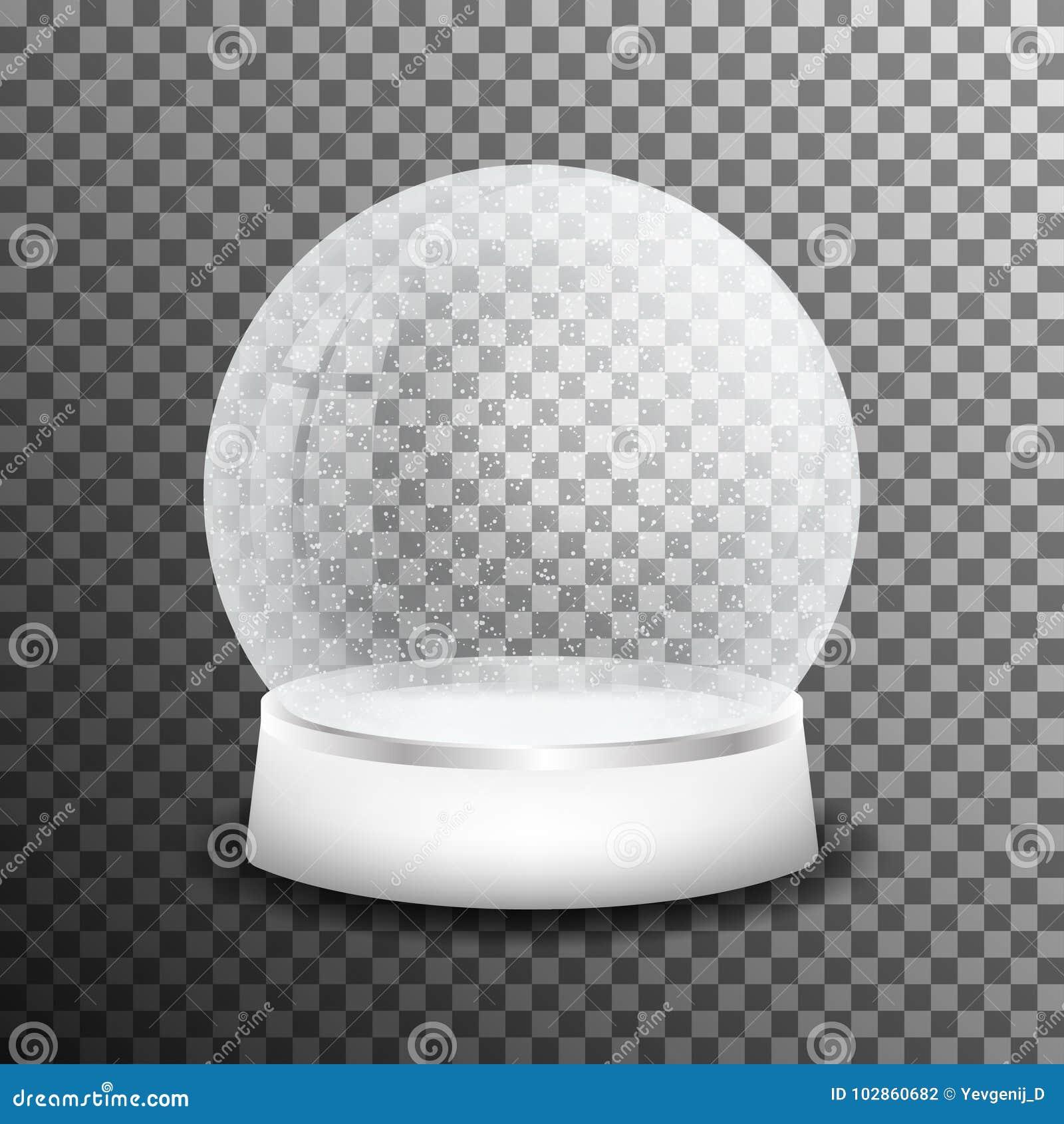 Bola de vidro da neve do Natal no fundo transparente Bola de cristal realística da neve com reflexão clara