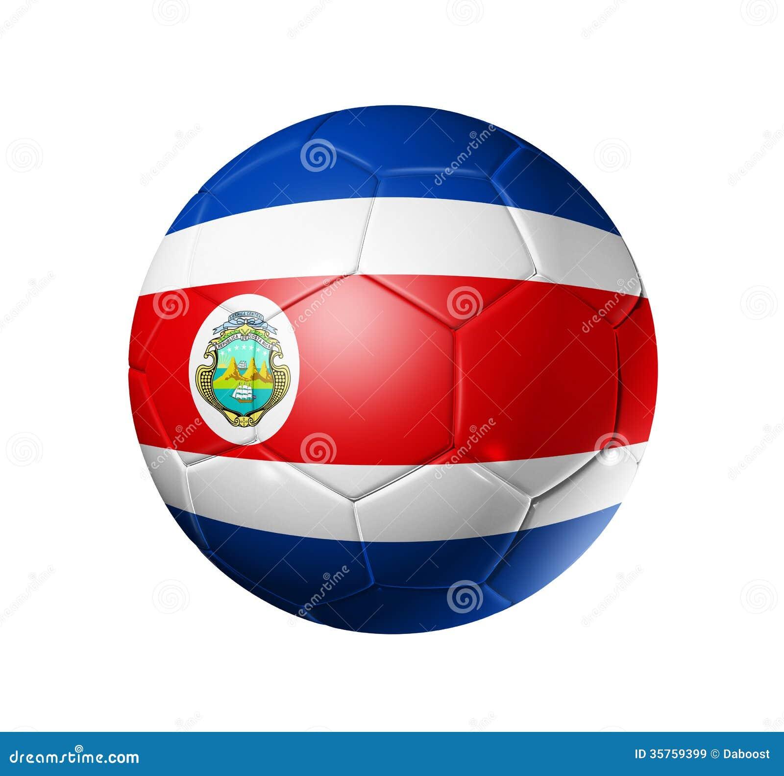 d5e463a9112af Balón de fútbol 3D con la bandera del equipo de Costa Rica. aislado en  blanco con la trayectoria de recortes