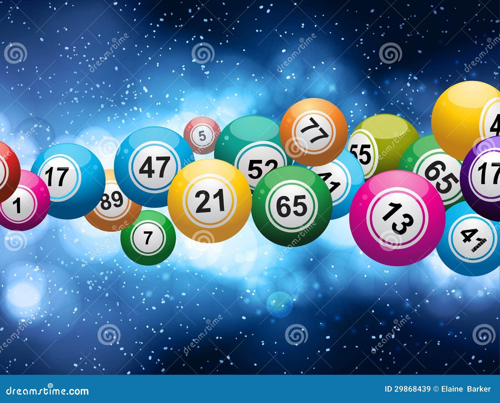 Bolas do Bingo em um fundo azul de incandescência