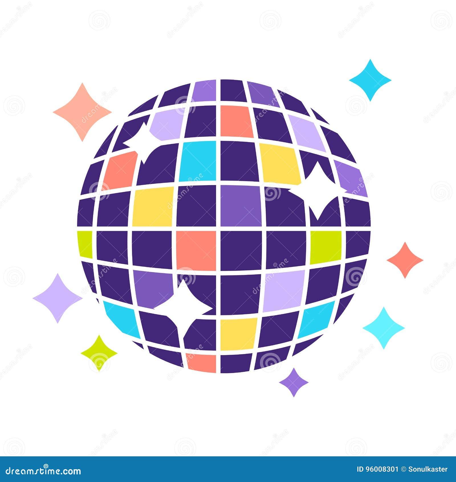 A bola do disco do clube noturno com efervescência ilumina o ícone liso do vetor do partido
