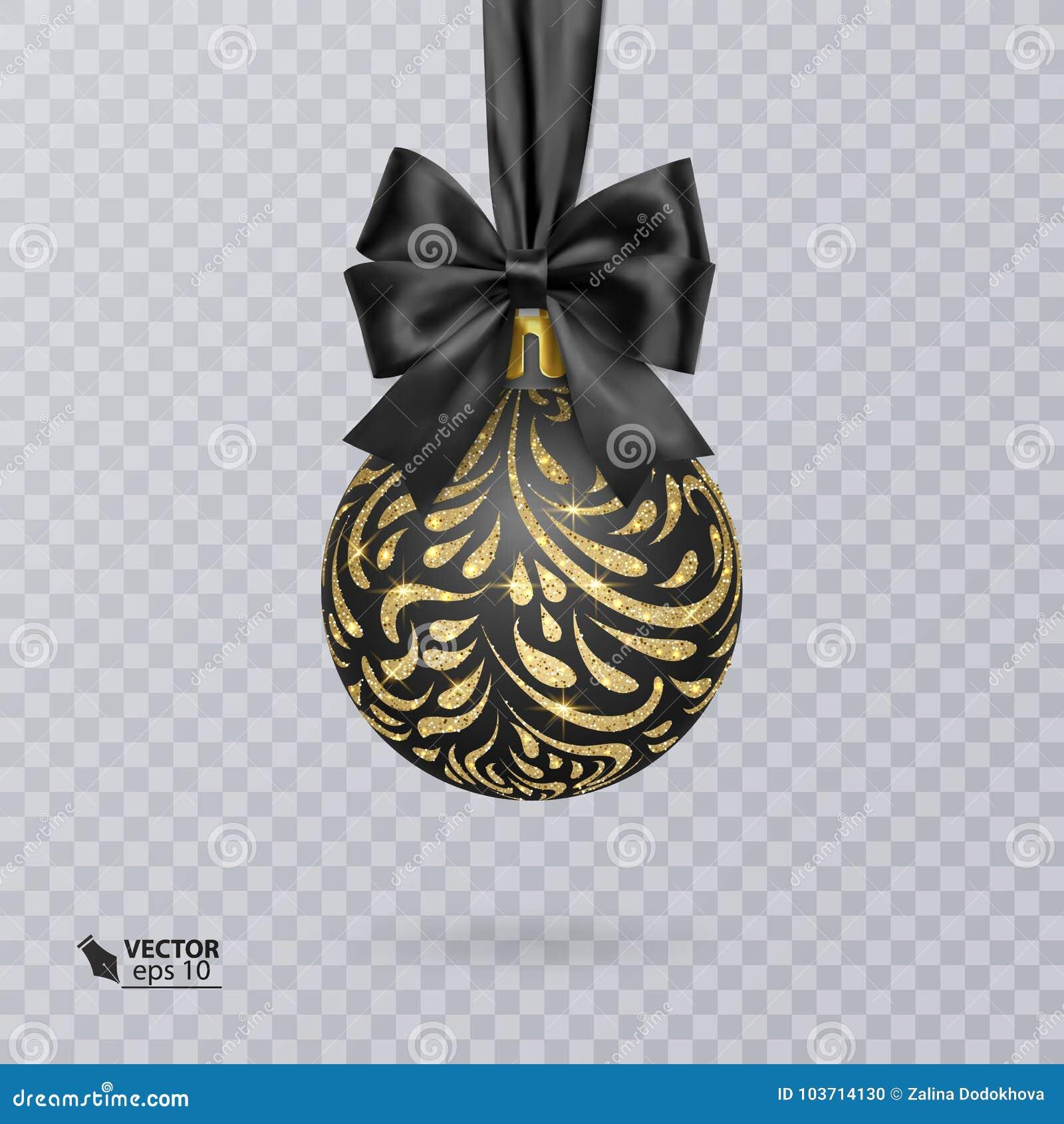 Bola enegreça, do Natal decorada com uma curva preta realística e um brilhante, ornamento do ouro Ilustração do vetor