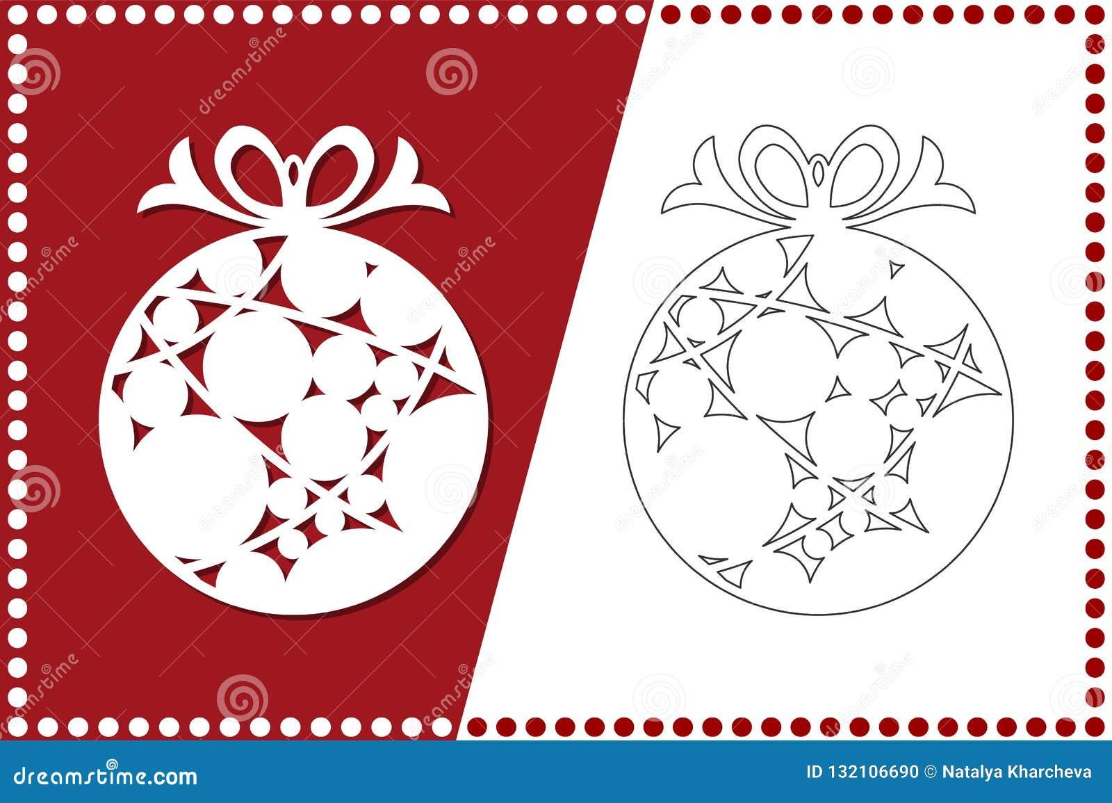 Bola moderna de la Navidad El juguete del Año Nuevo para el corte del laser Ilustración del vector