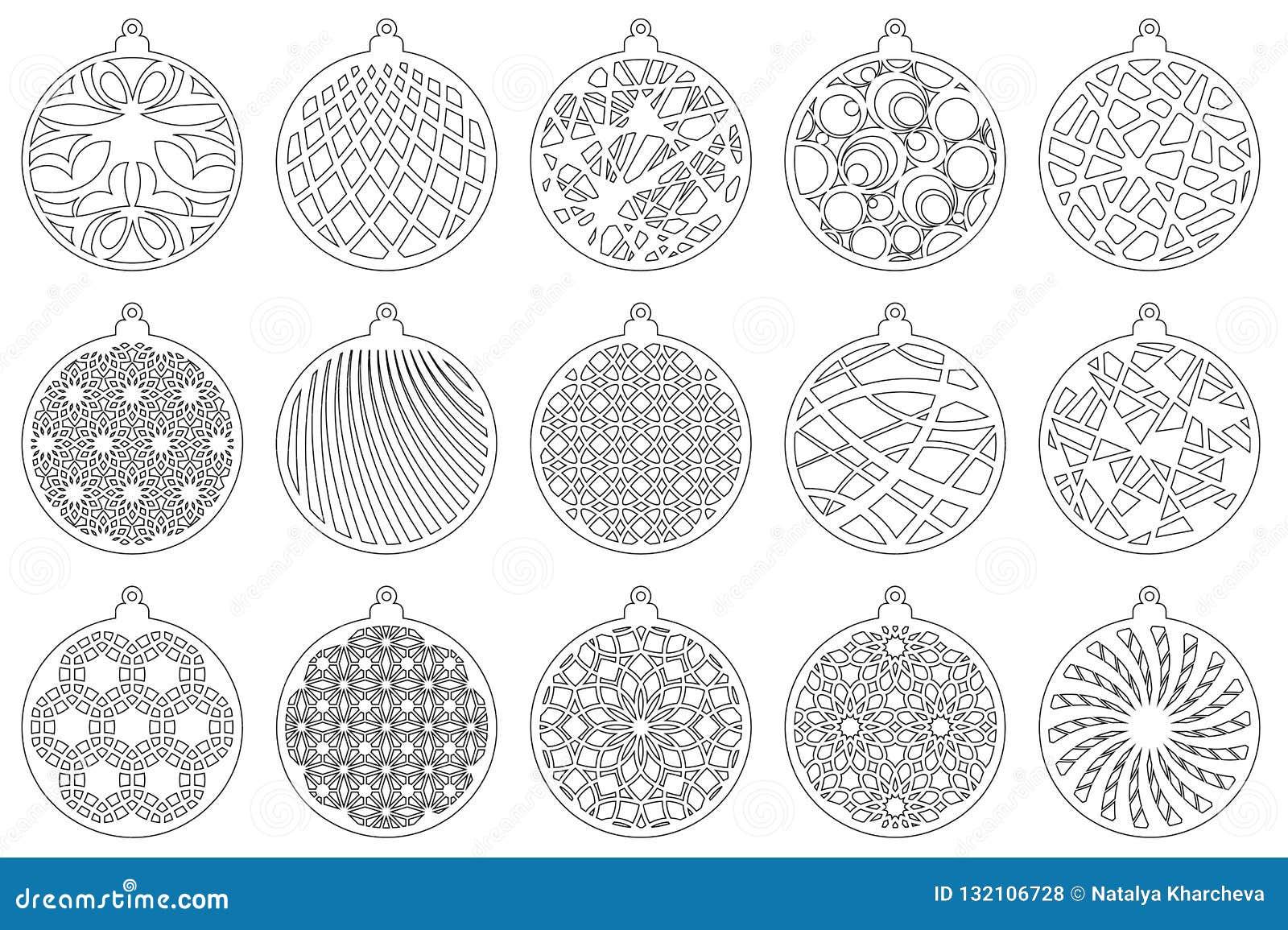 Bola moderna determinada de la Navidad El juguete del Año Nuevo para el corte del laser Ilustración del vector