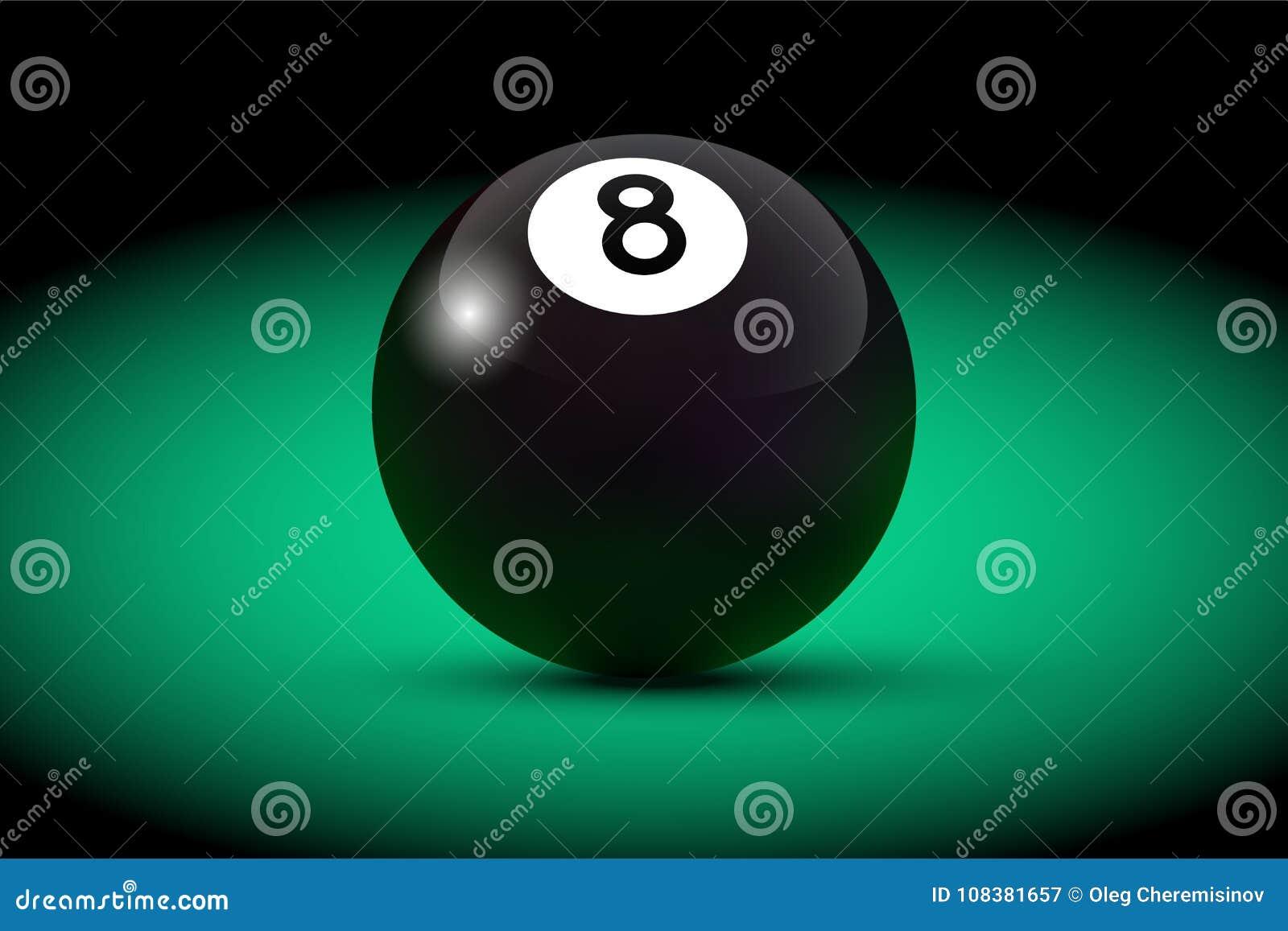 Bola realística preta do bilhar oito na tabela verde Ilustração do bilhar do vetor