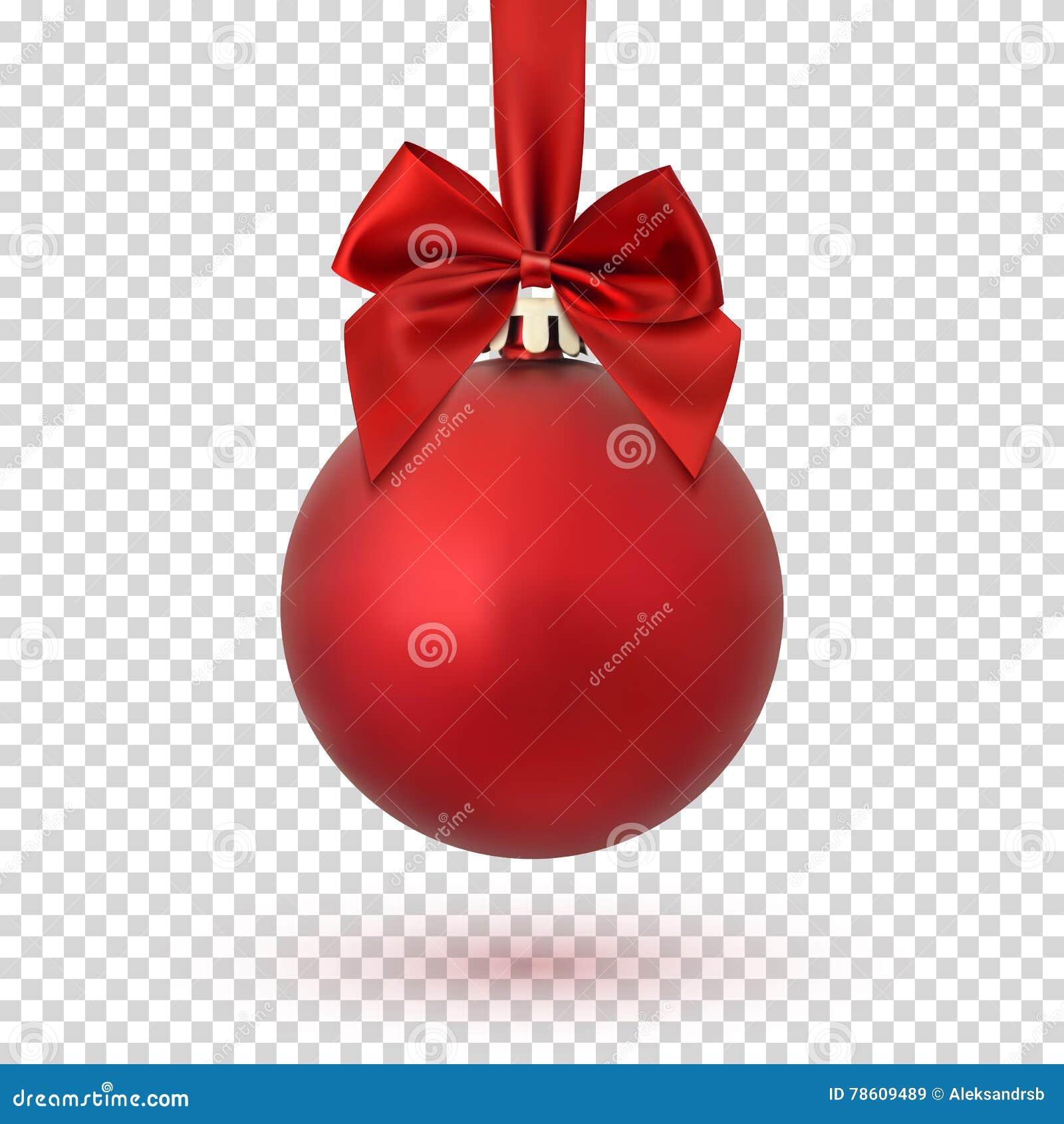 Bola Roja De La Navidad En Fondo Transparente Ilustracion Del Vector - Bolas-de-navidad-transparentes