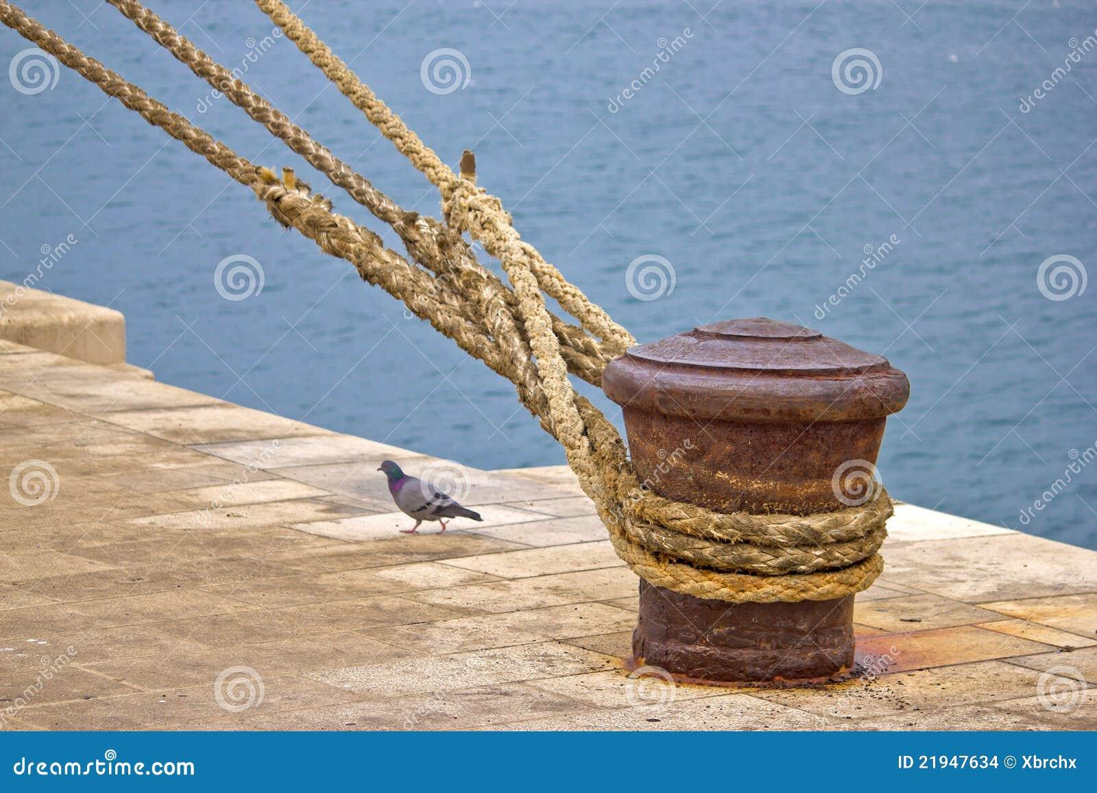 Bolardo oxidado de la amarradura con las cuerdas de la nave