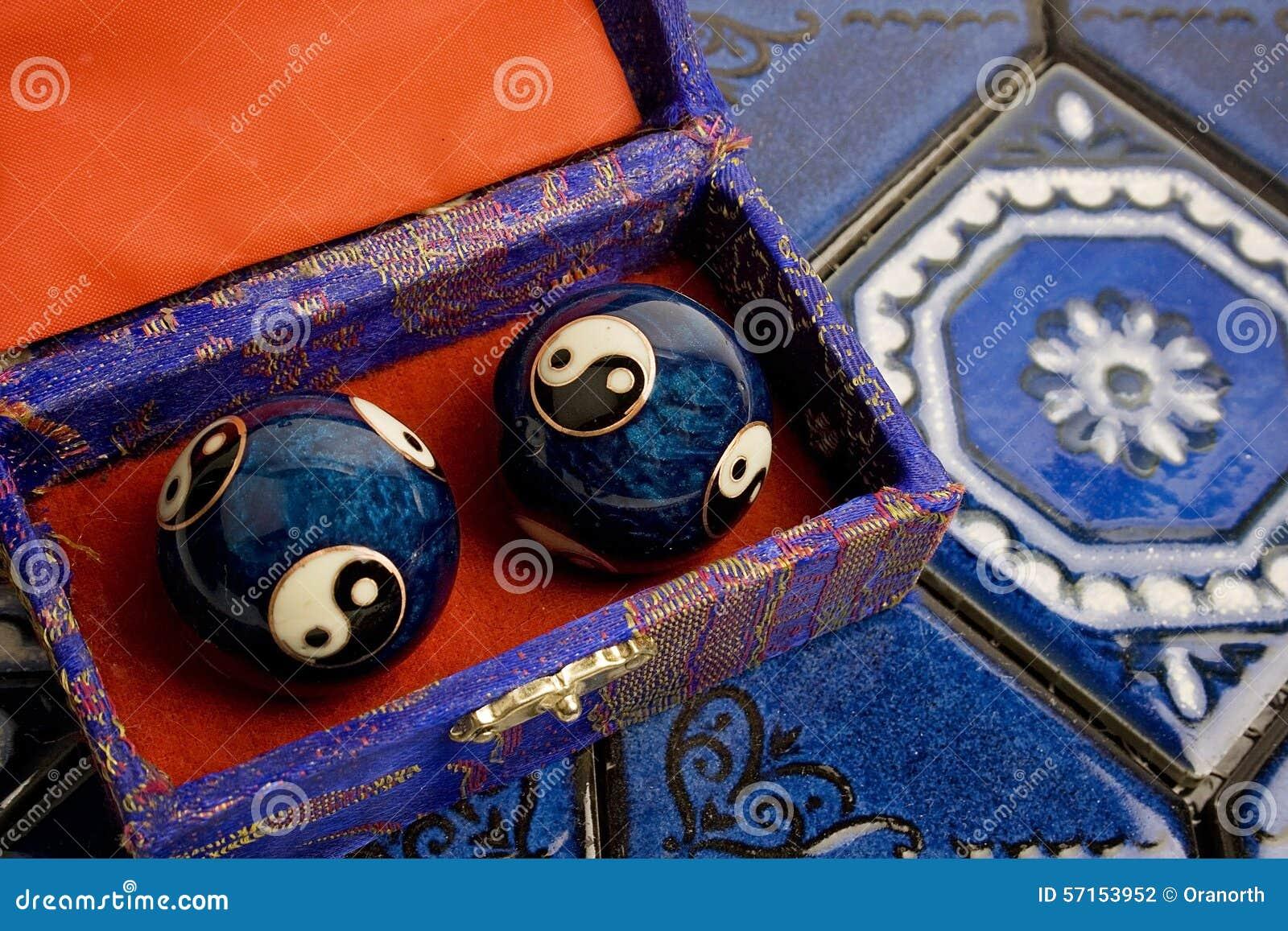 Bolas azules de Baoding del chino