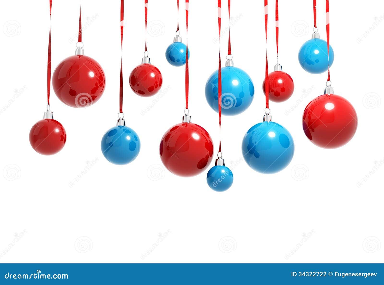 Bolas azules y rojas de la navidad aisladas fotograf a de - Bolas de navidad rojas ...