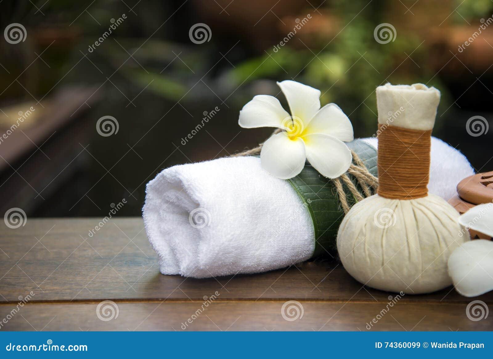 bolas da compressa da massagem dos termas bola erval no de madeira