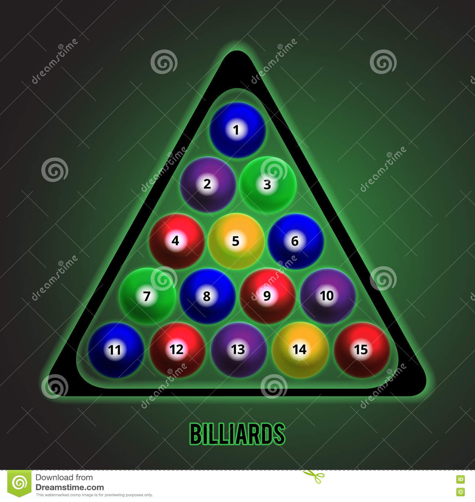 Bolas de billar de diversos colores en la tabla Ilustración del vector