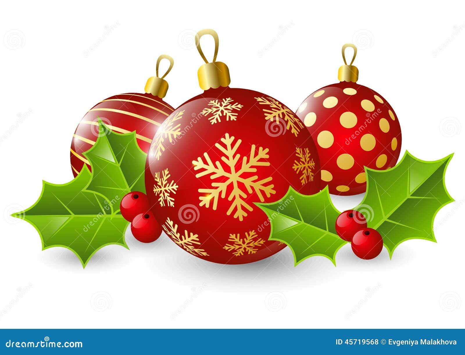 Bolas de la navidad con las hojas del acebo ilustraci n - Bolas navidad de papel ...