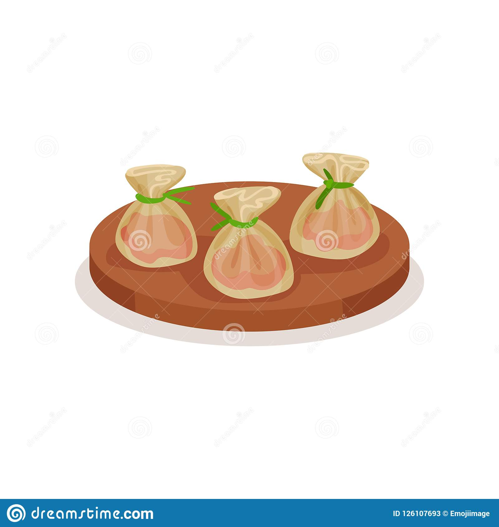 Bolas de masa hervida apetitosas del camarón de la placa de madera redonda Plato asiático tradicional Vector plano para el menú d