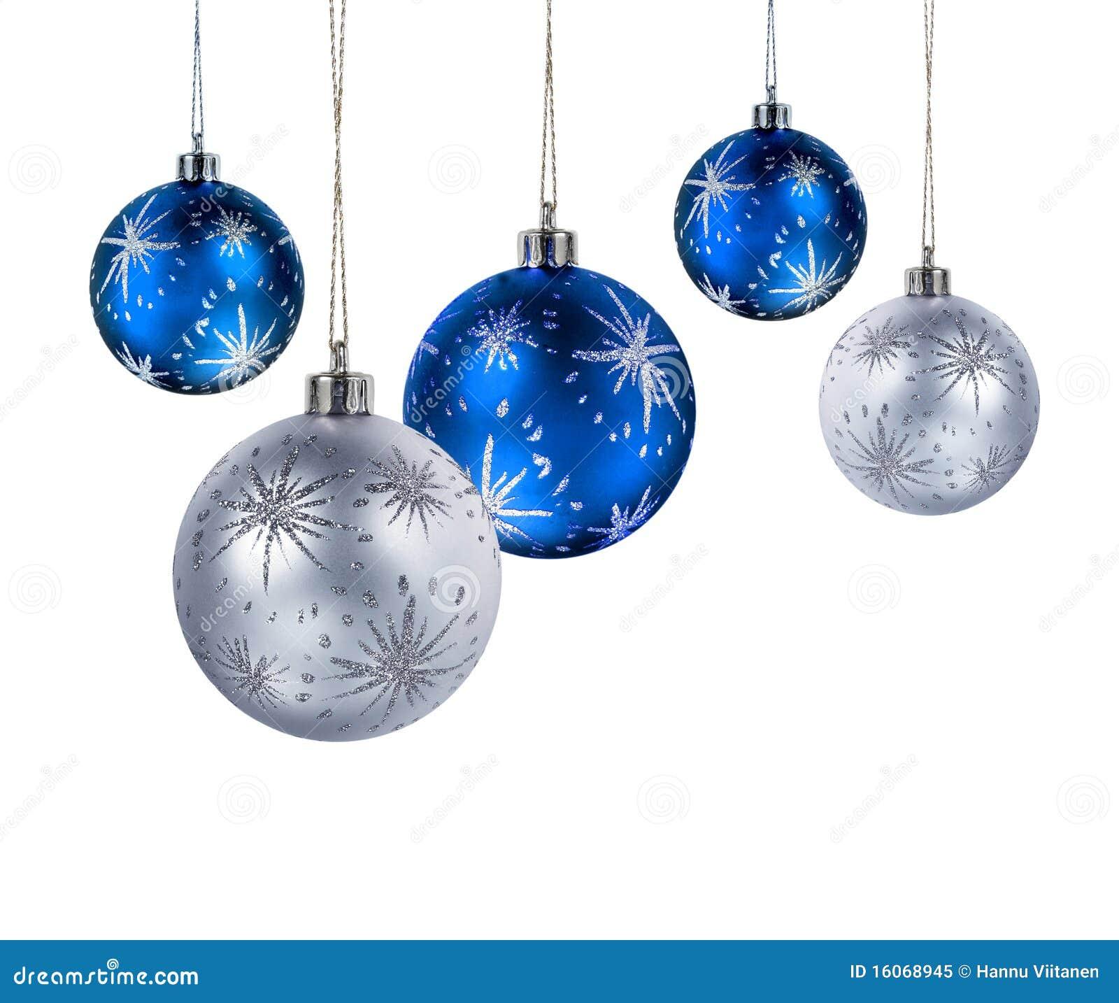 Bolas de plata azules de la Navidad