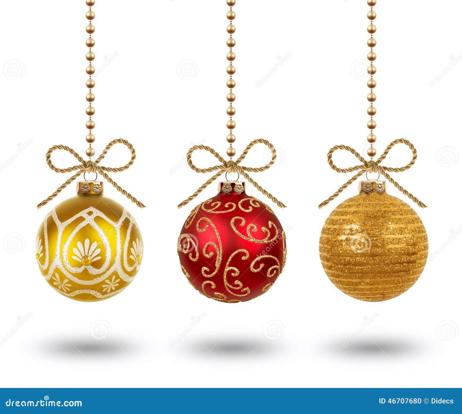 Bolas de suspensão do Natal isoladas no fundo branco