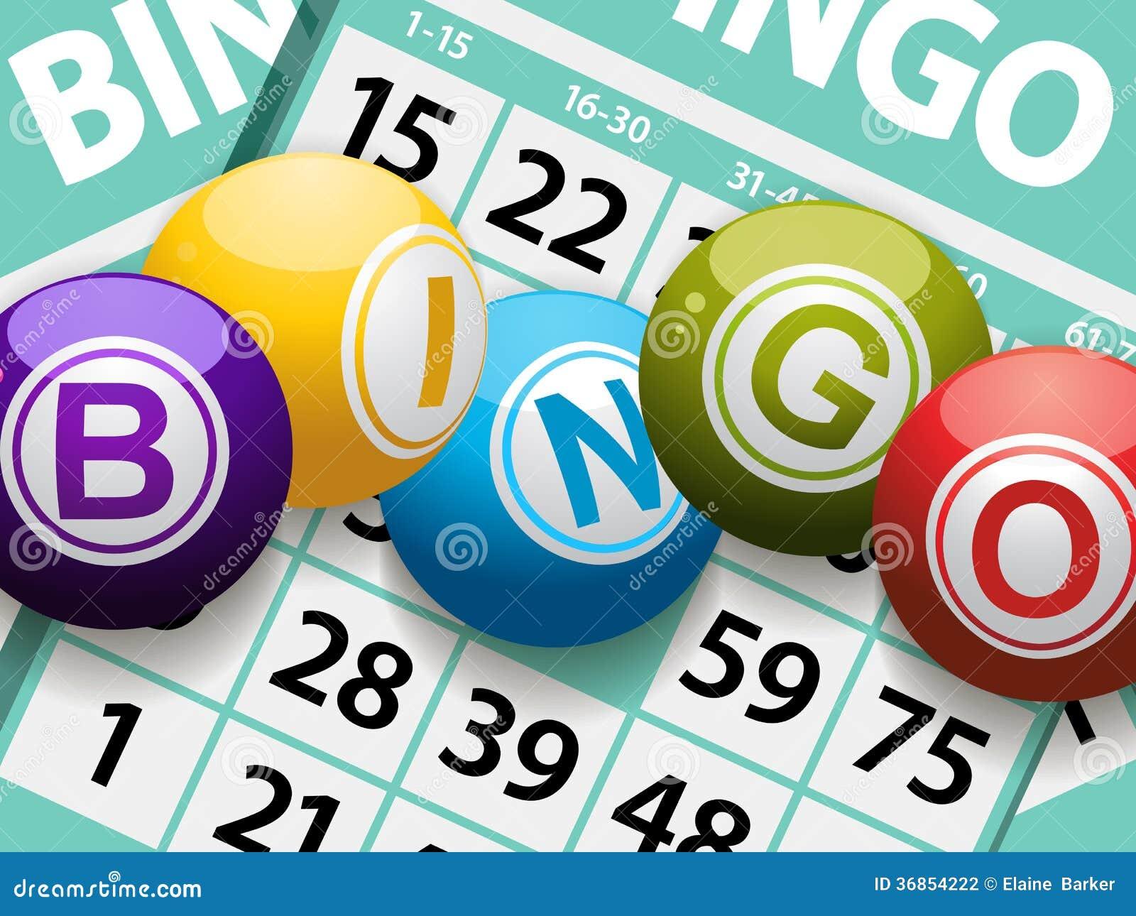 Bolas do Bingo em um fundo do cartão