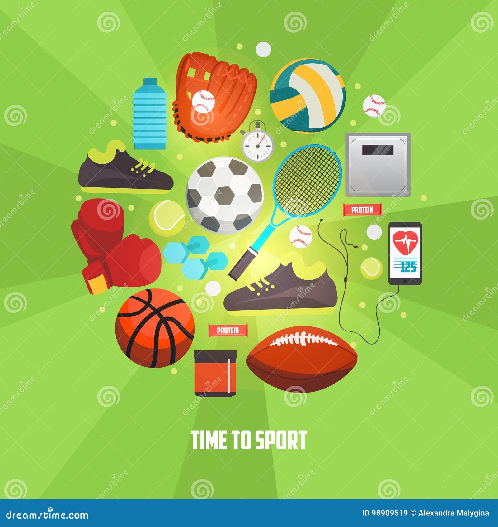6e96d309f Bolas do esporte e ícones dos artigos do jogo ajustados Vector o conceito  com equipamento de esporte para jogos competitivos Ilustração criativa do  esporte