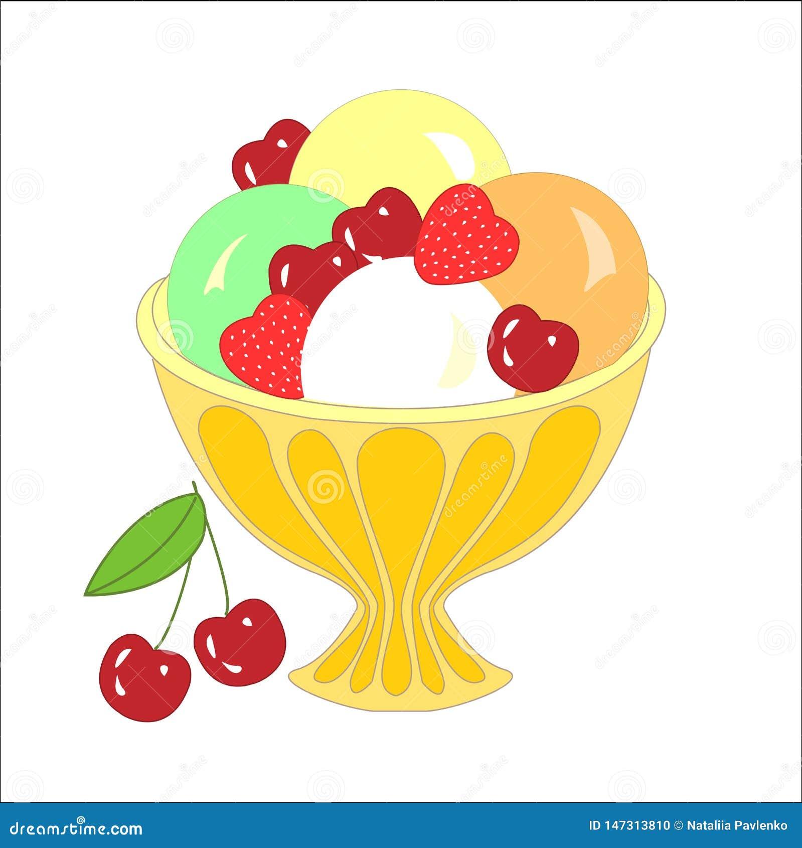 Bolas do gelado com coberturas e sabores e frutos diferentes Ilustra??o do vetor
