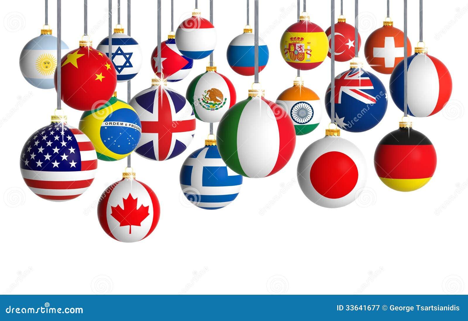 Bolas do Natal com bandeiras diferentes