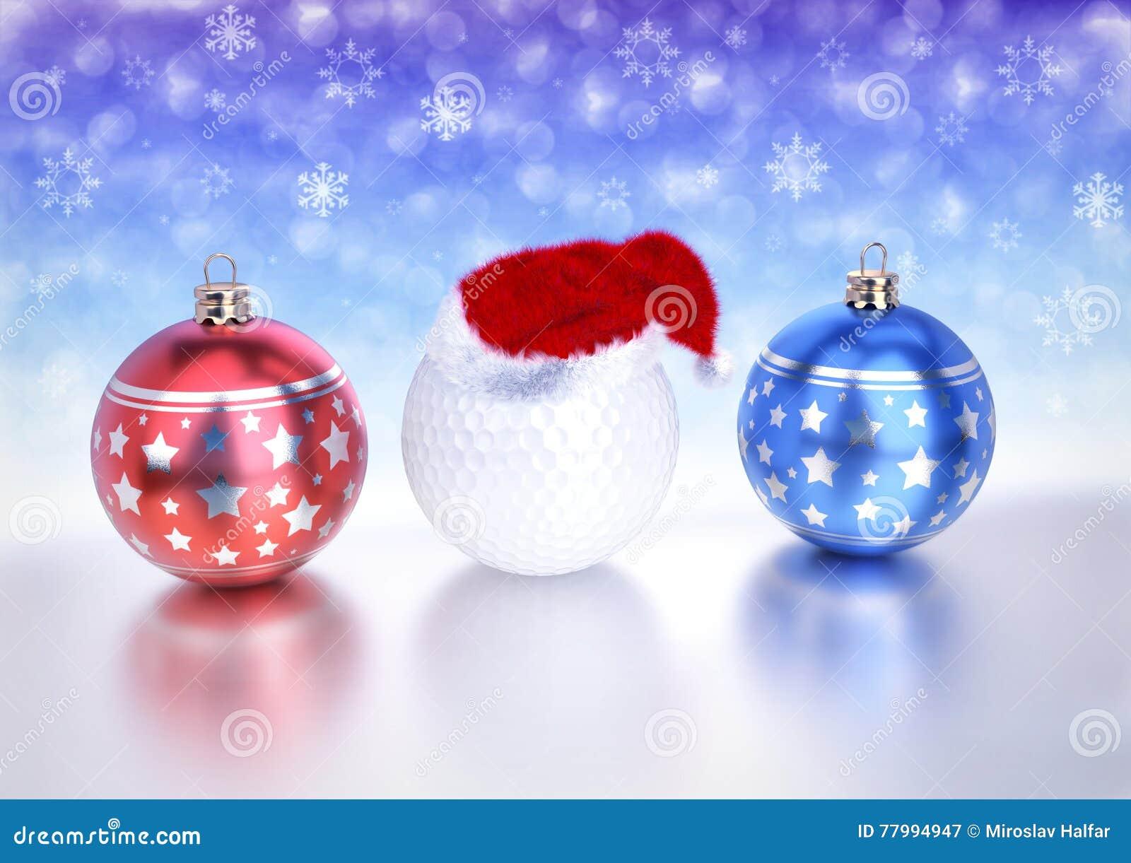 Bolas e bola de golfe do Natal com o chapéu vermelho de Santa no fundo do bokeh 3d rendem