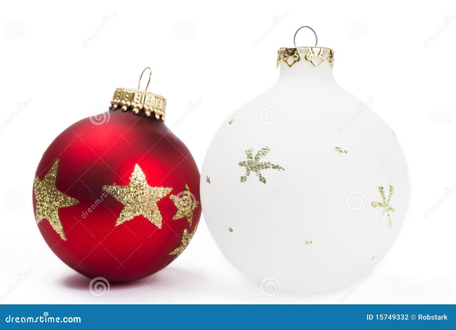 Bolas opacas rojas y blancas de la navidad fotograf a de - Bolas de navidad rojas ...